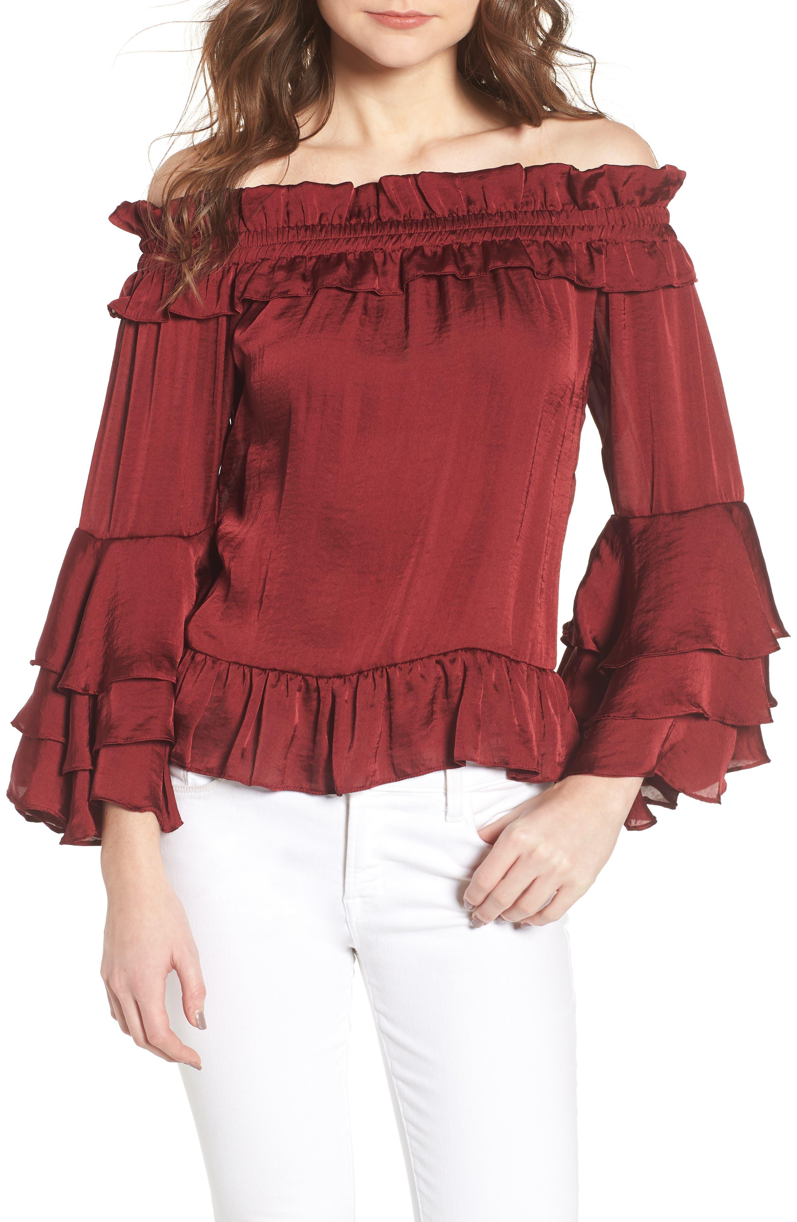 Mirah Off the Shoulder Satin Top,                         Main,                         color, Cranberry