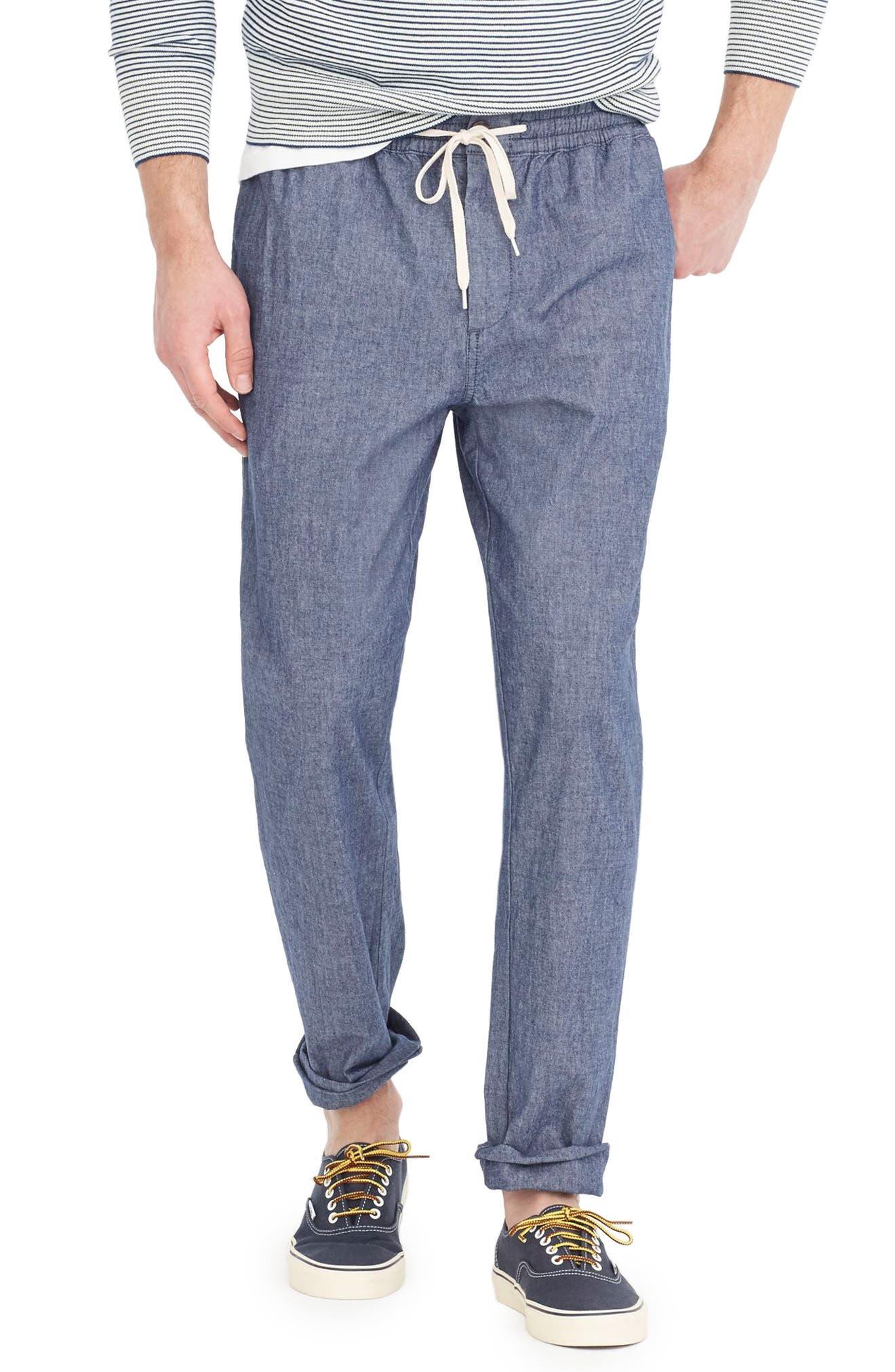 Chambray Drawstring Pants,                         Main,                         color, Covington Blue