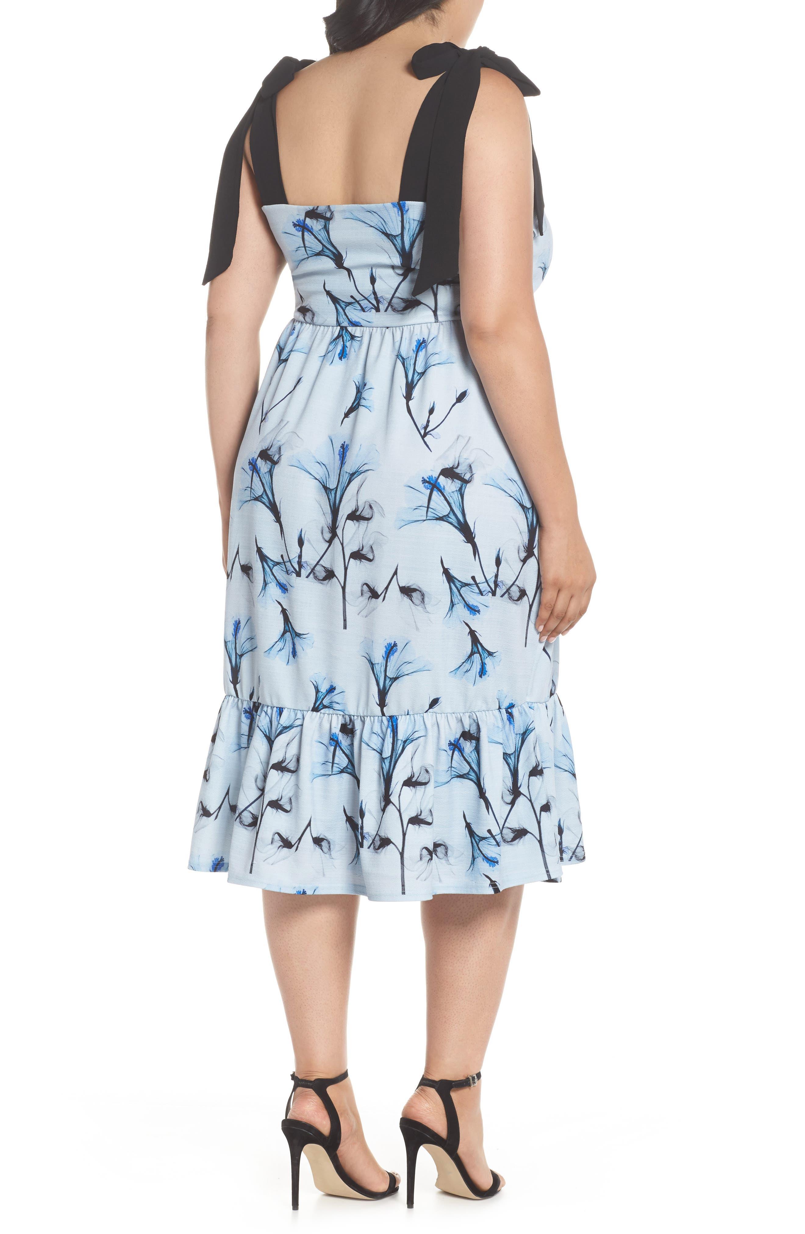 Tie Shoulder A-Line Dress,                             Alternate thumbnail 3, color,                             Multi
