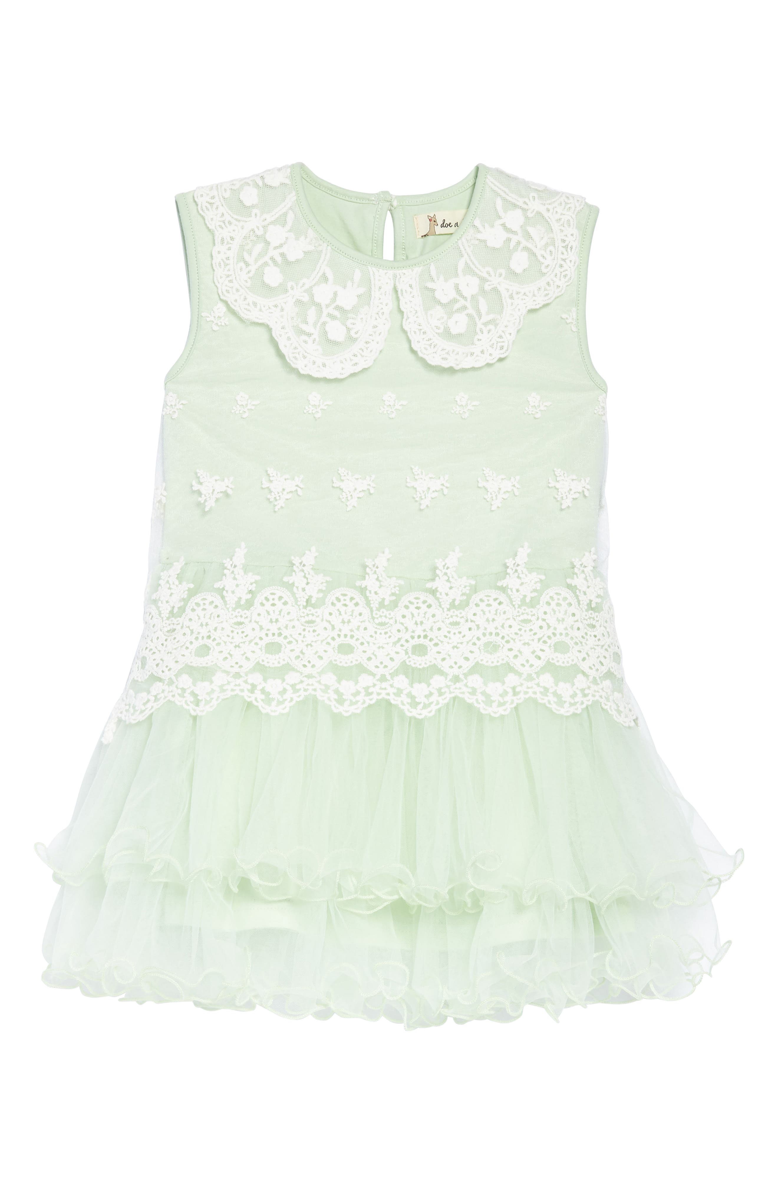 Embroidered Tulle Dress,                         Main,                         color, Mint
