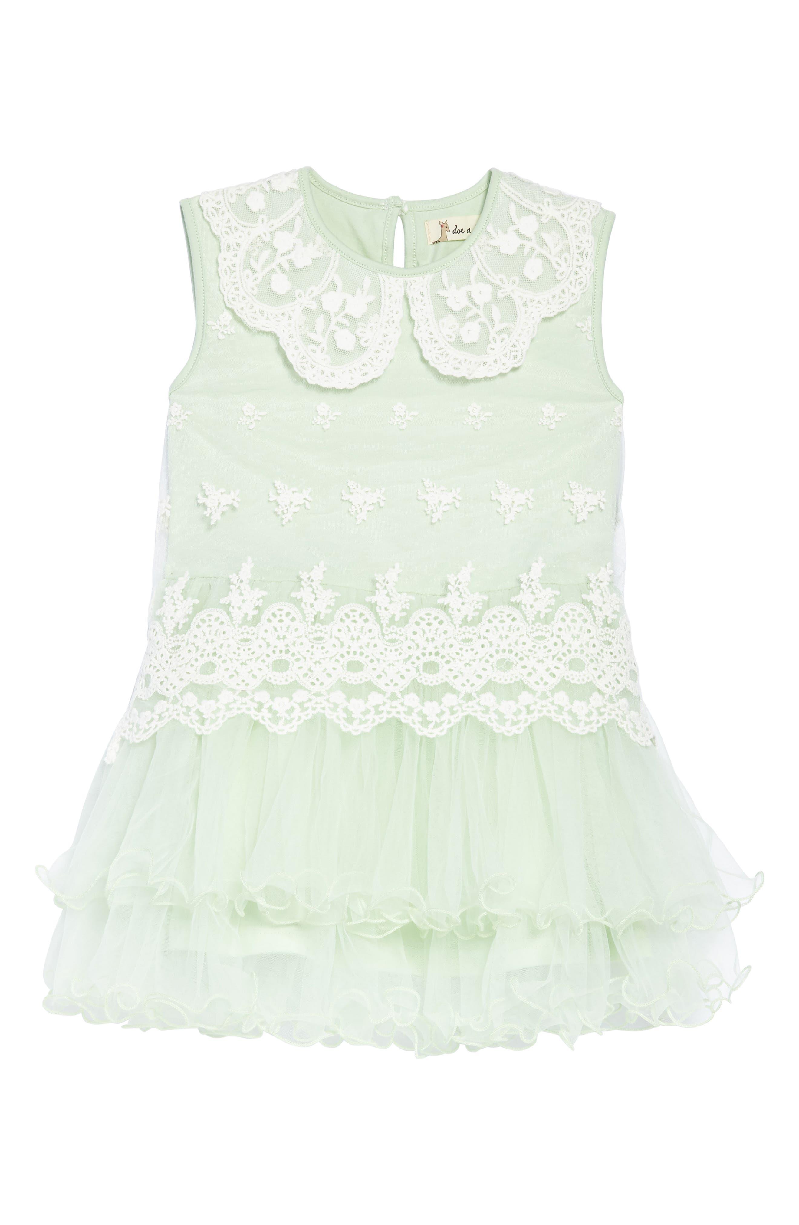 Doe A Dear Embroidered Tulle Dress (Toddler Girls, Little Girls & Big Girls)