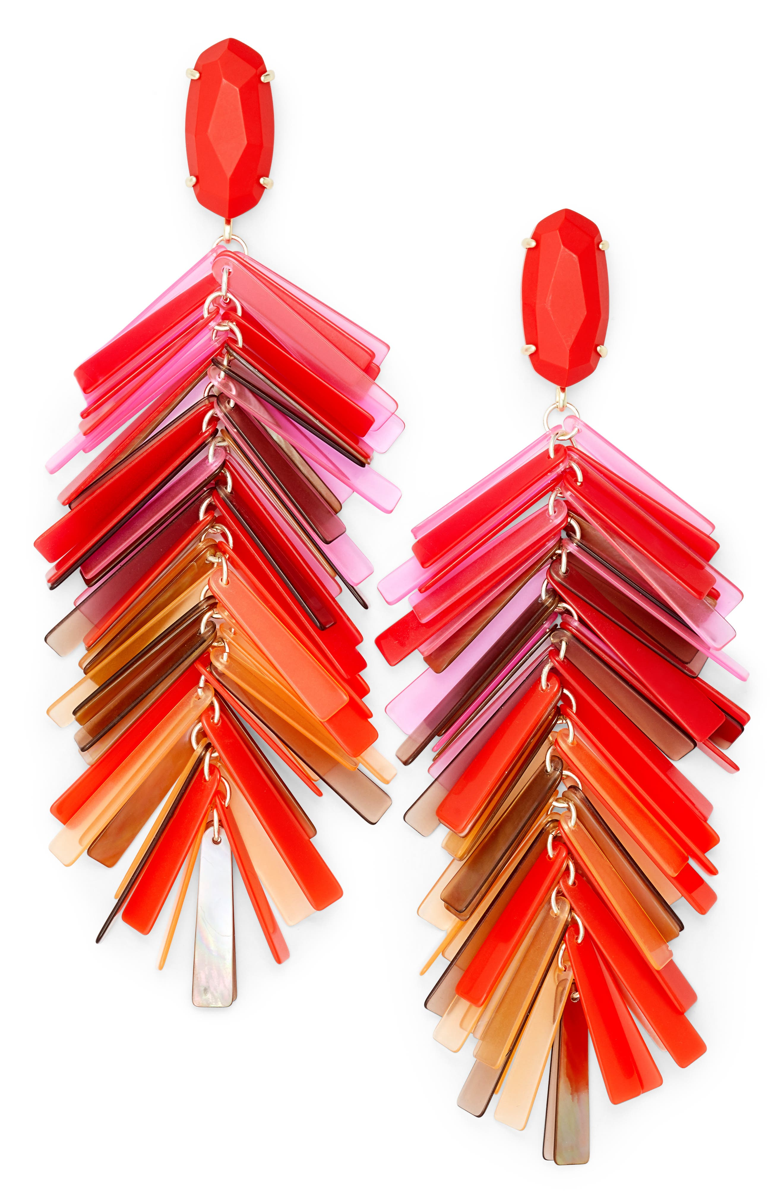Justyne Drop Earrings,                             Main thumbnail 1, color,                             Red Mix/ Gold
