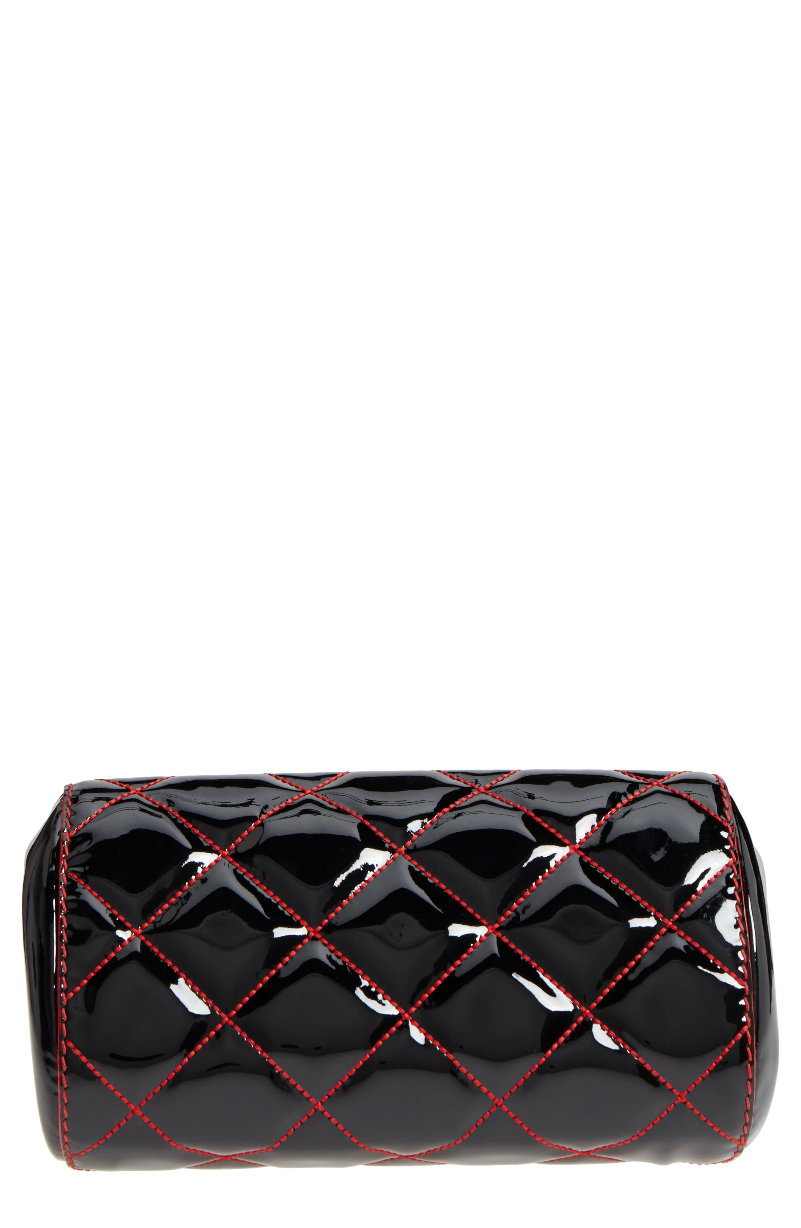 Quilted Patent Leather Frame Clutch,                             Alternate thumbnail 7, color,                             Black/ Lust Red