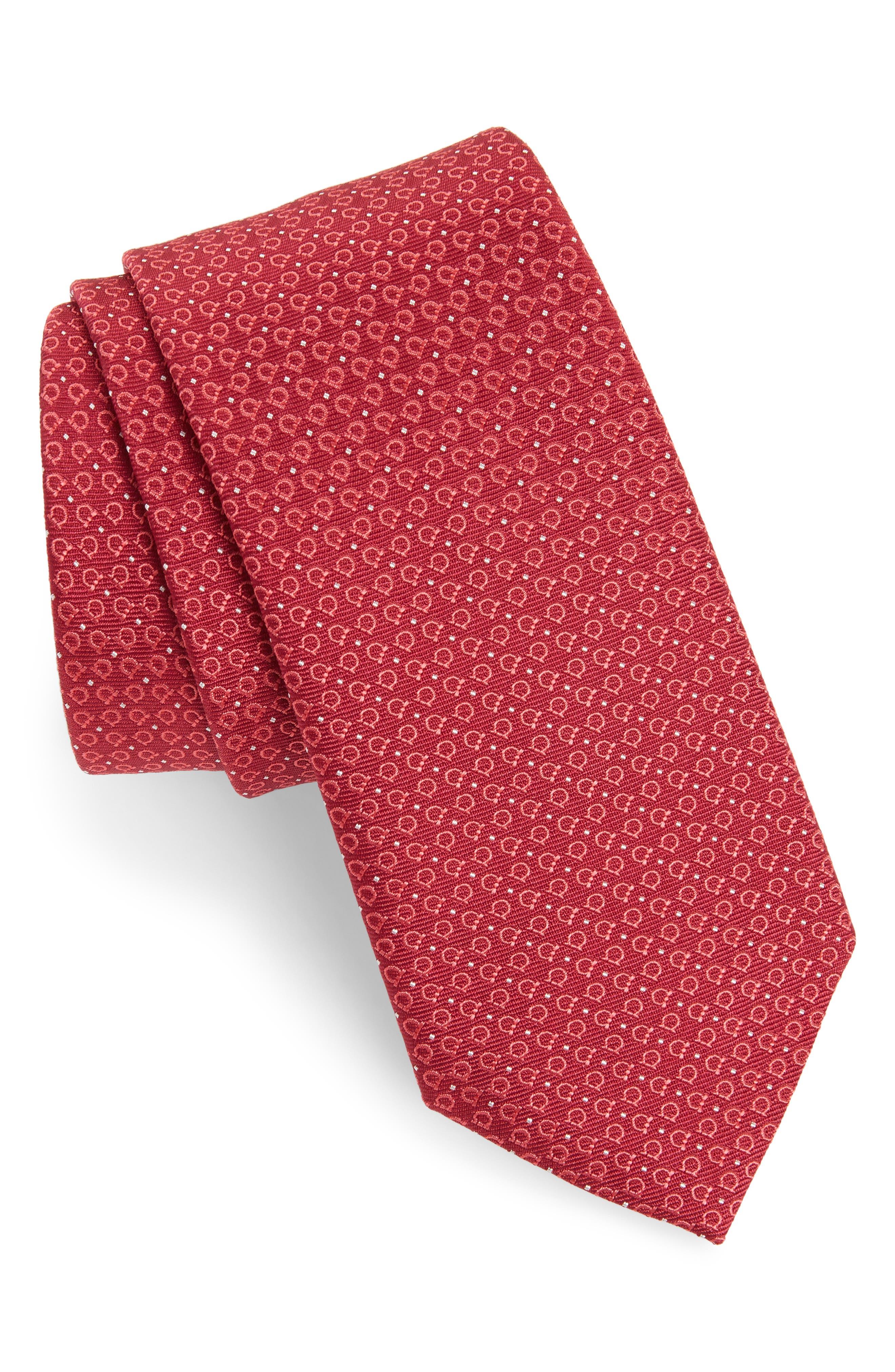 Elva Print Silk Tie,                         Main,                         color, Cherry Red