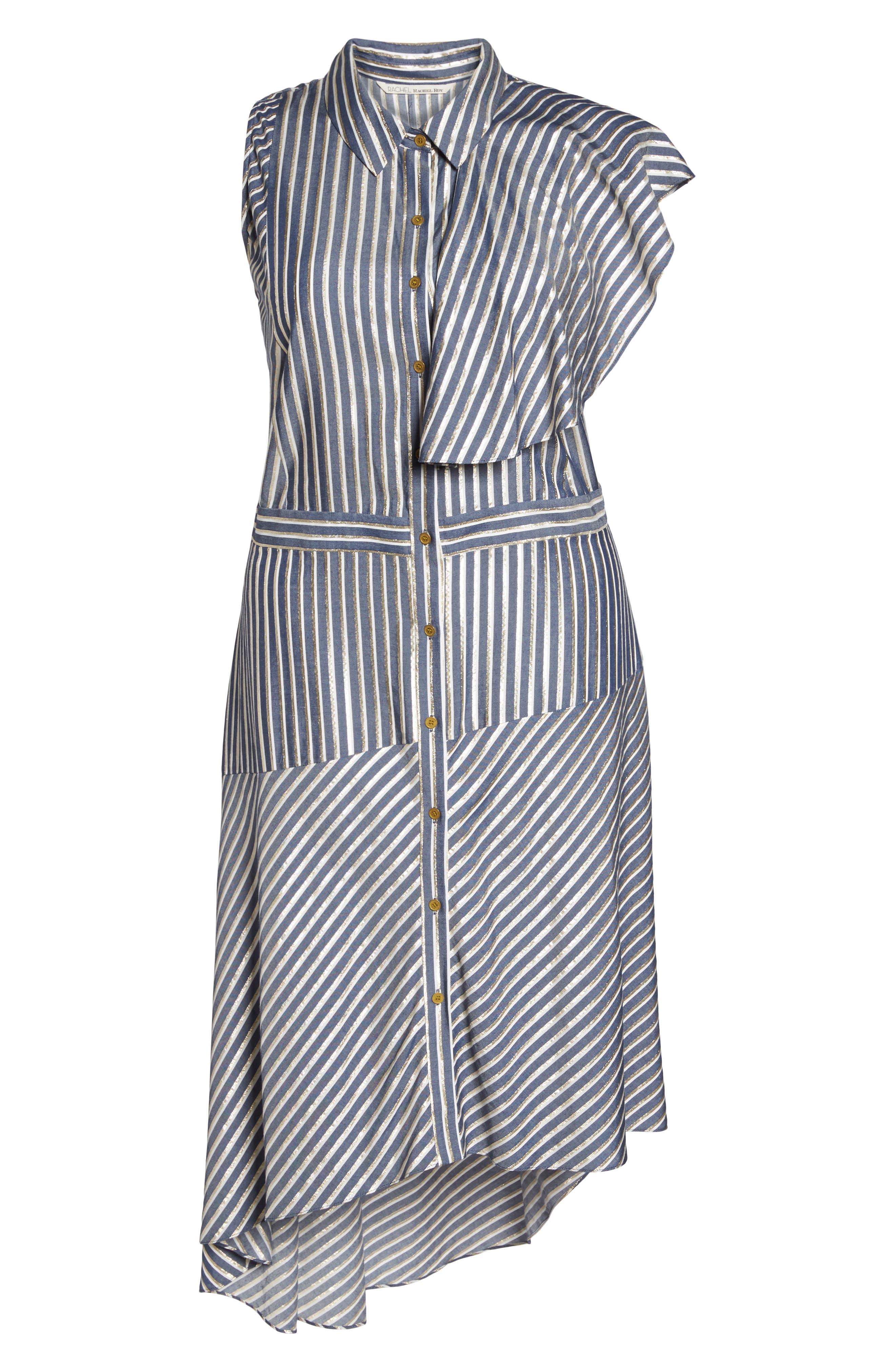 Stripe Asymmetrical Ruffle Shirtdress,                             Alternate thumbnail 7, color,                             True Navy Combo