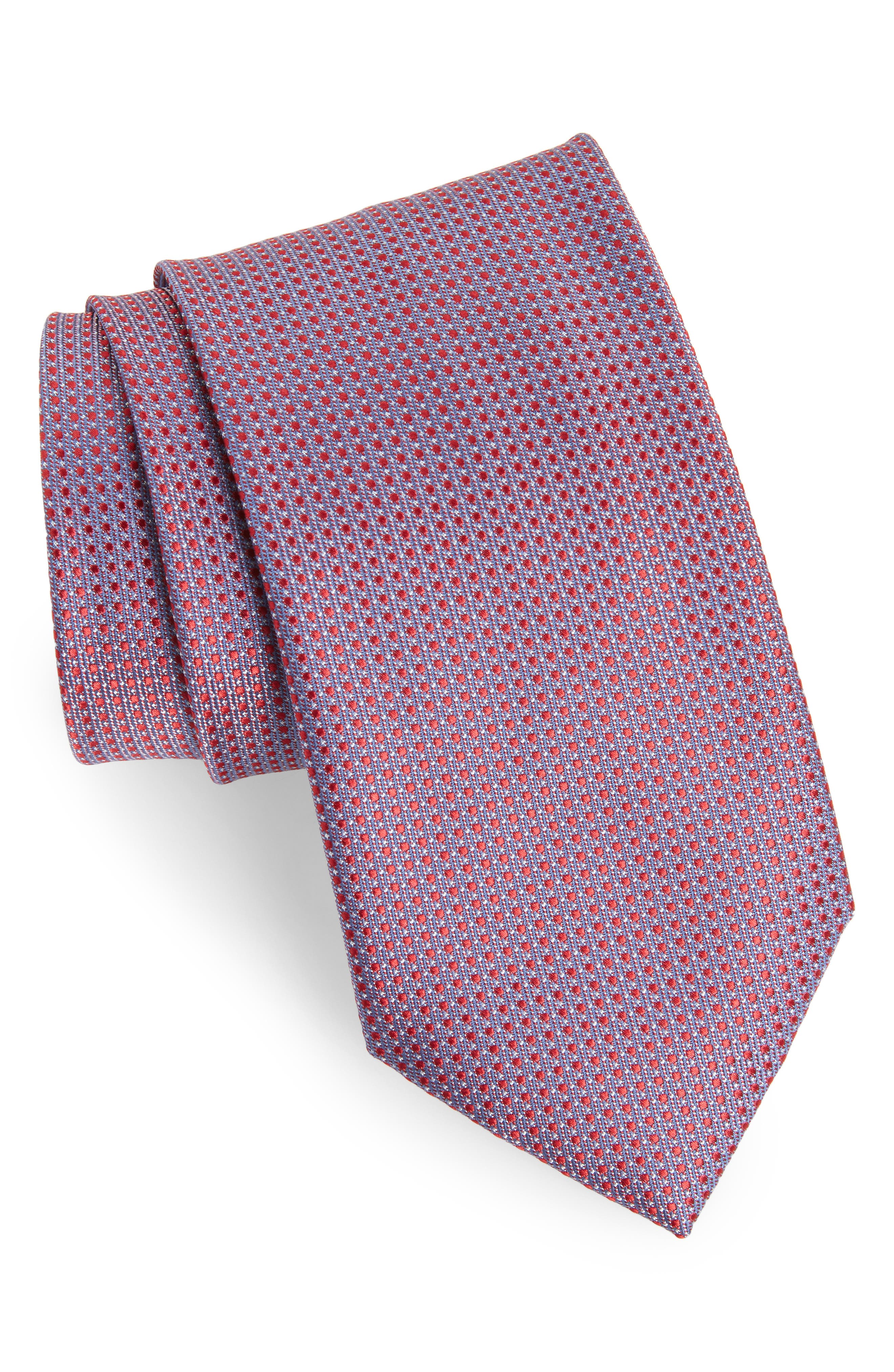 Neat Geometric Silk Tie,                             Main thumbnail 1, color,                             Blue/ Red