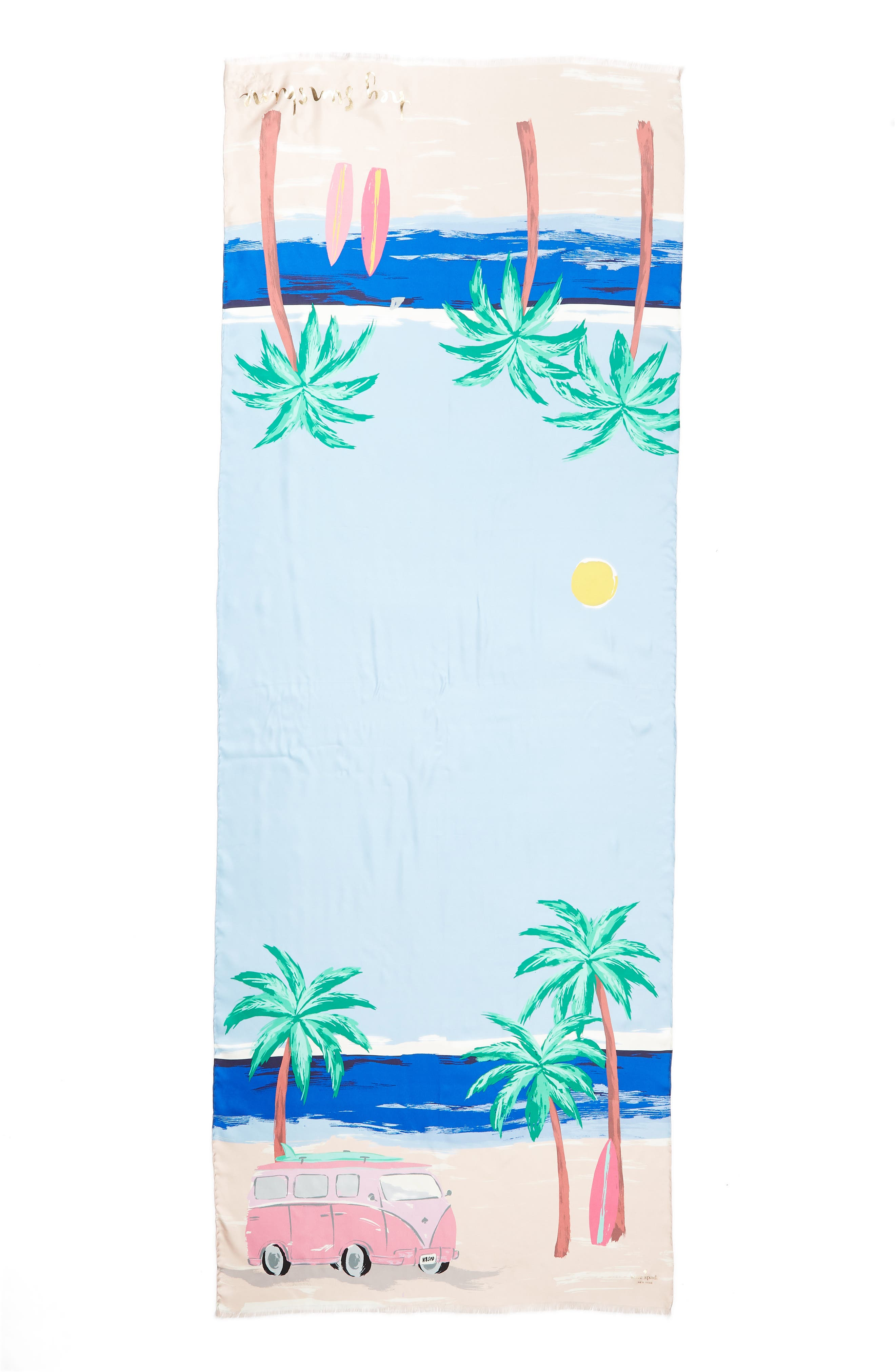 beach scene silk scarf,                             Alternate thumbnail 3, color,                             Bayside Blue