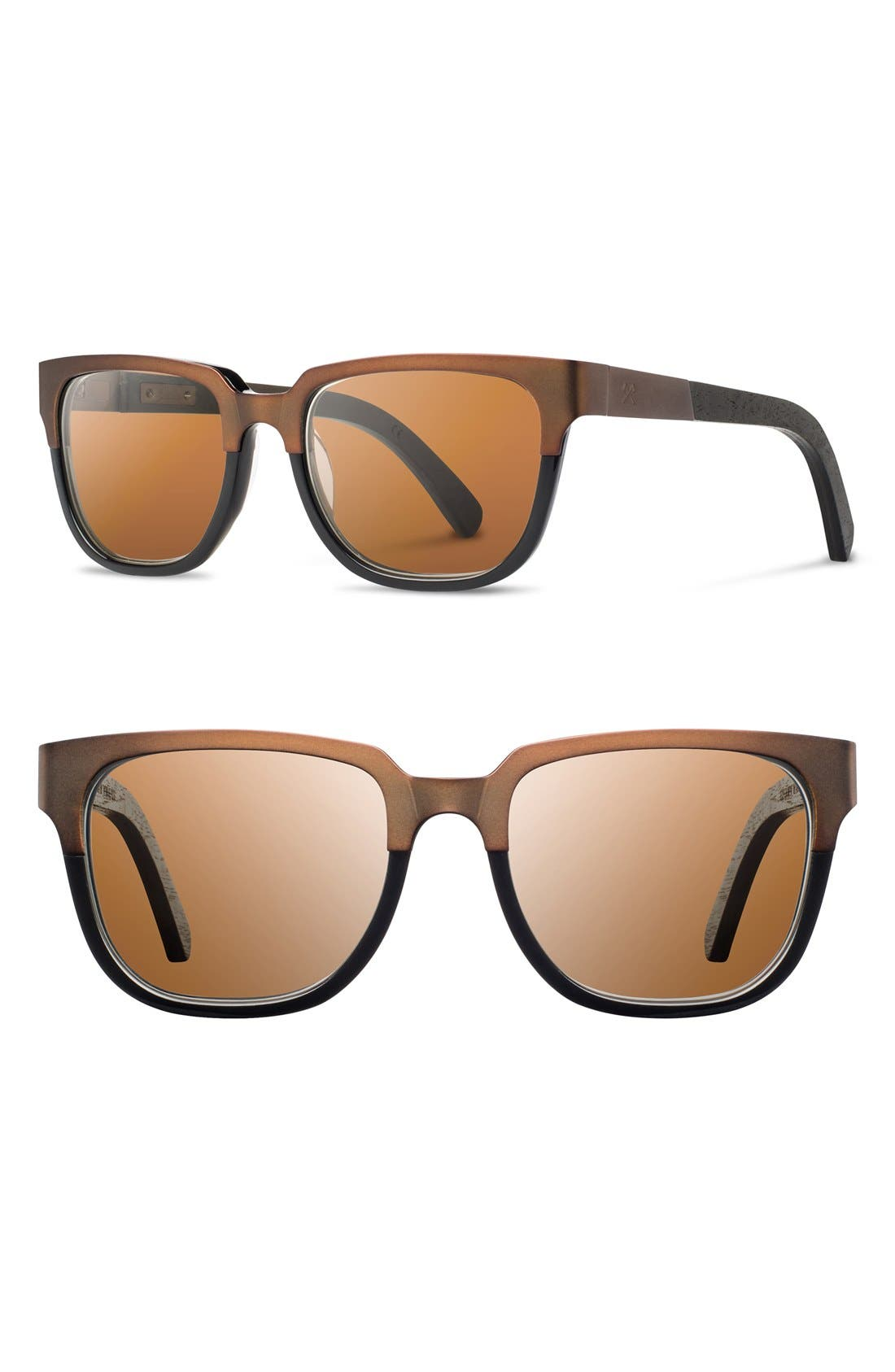 SHWOOD Prescott 52mm Polarized Titanium & Wood Sunglasses