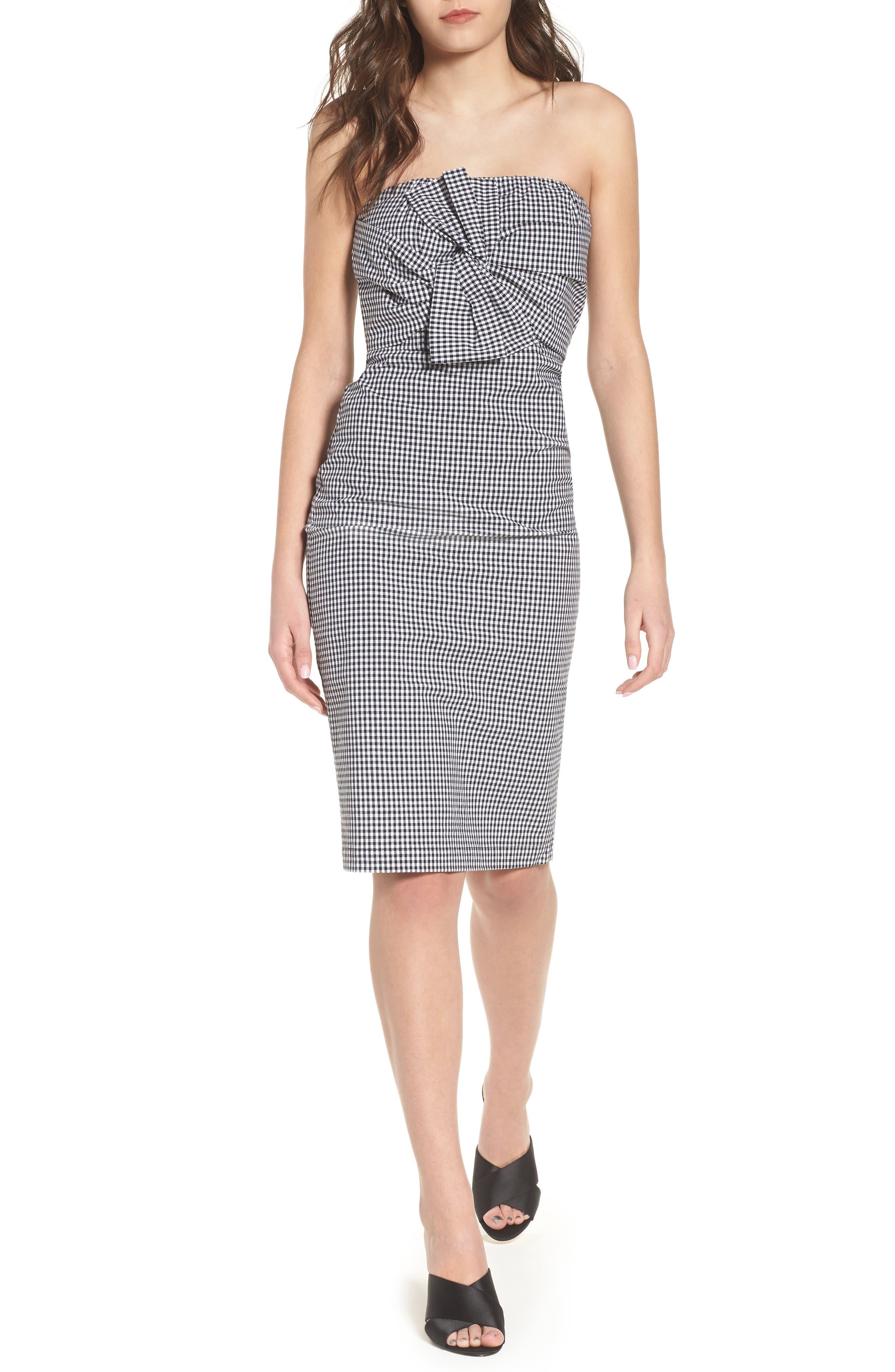 Strapless Gingham Dress,                         Main,                         color, Black Gingham Stripe