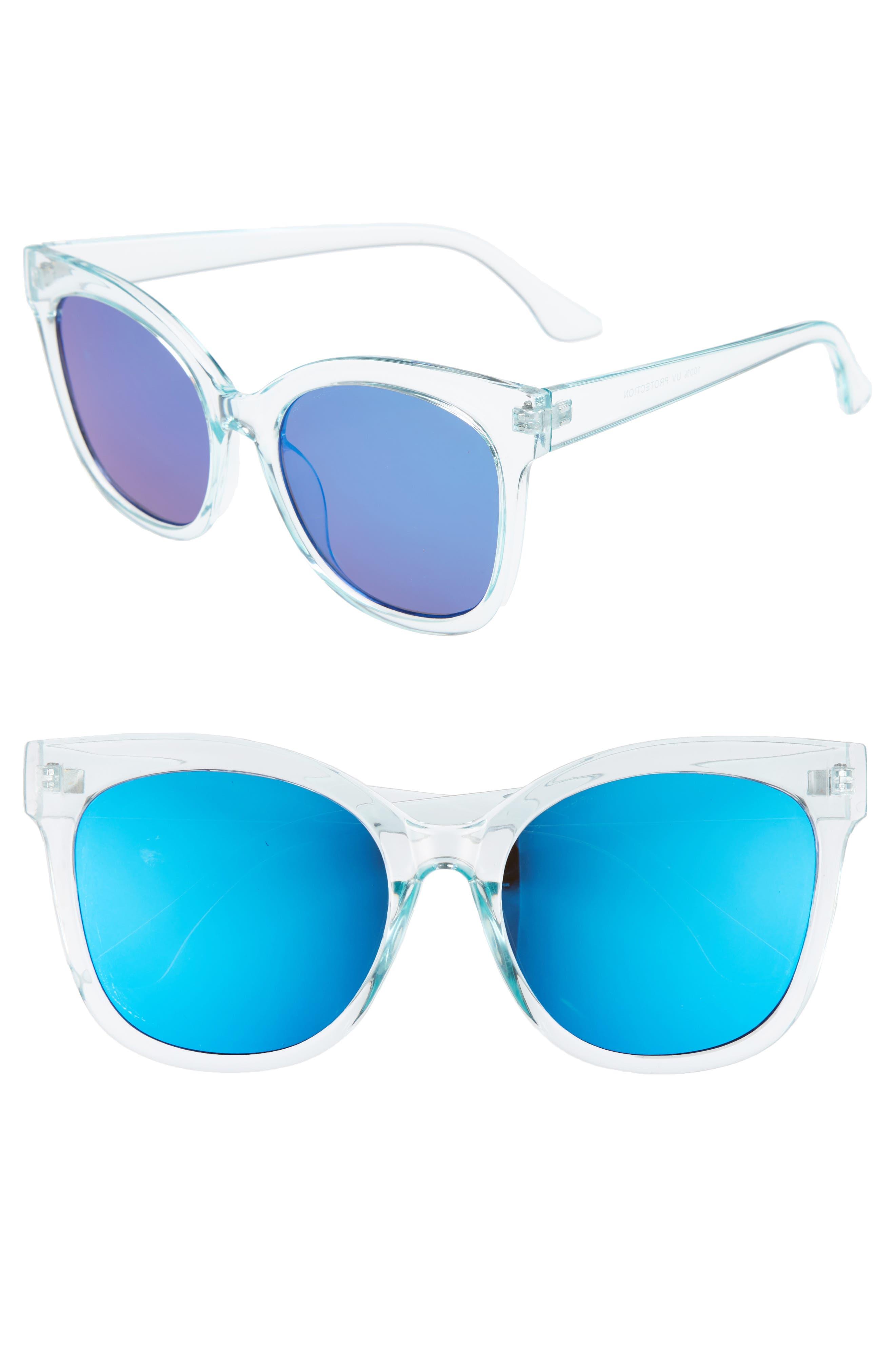 57mm Cat Eye Sunglasses,                             Main thumbnail 1, color,                             Green