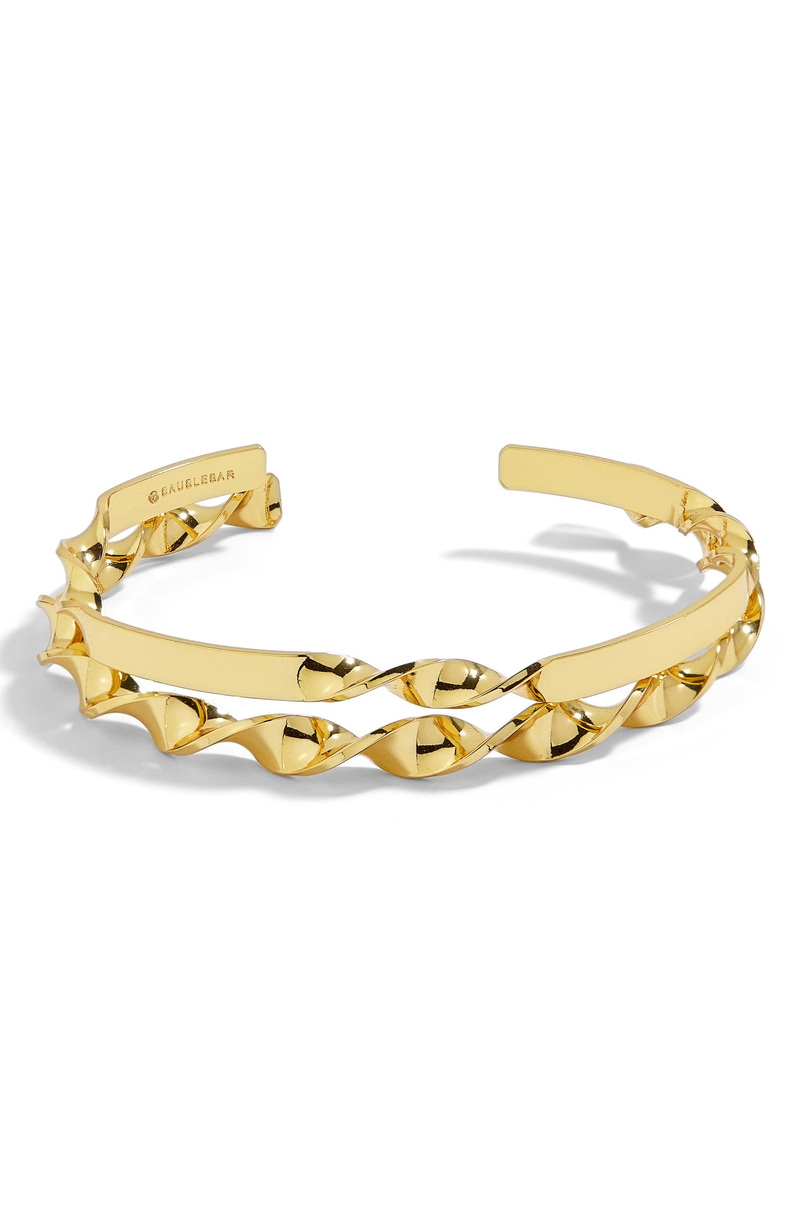 Narine Set of 2 Twisted Gold Cuff Bracelets,                             Main thumbnail 1, color,                             Gold