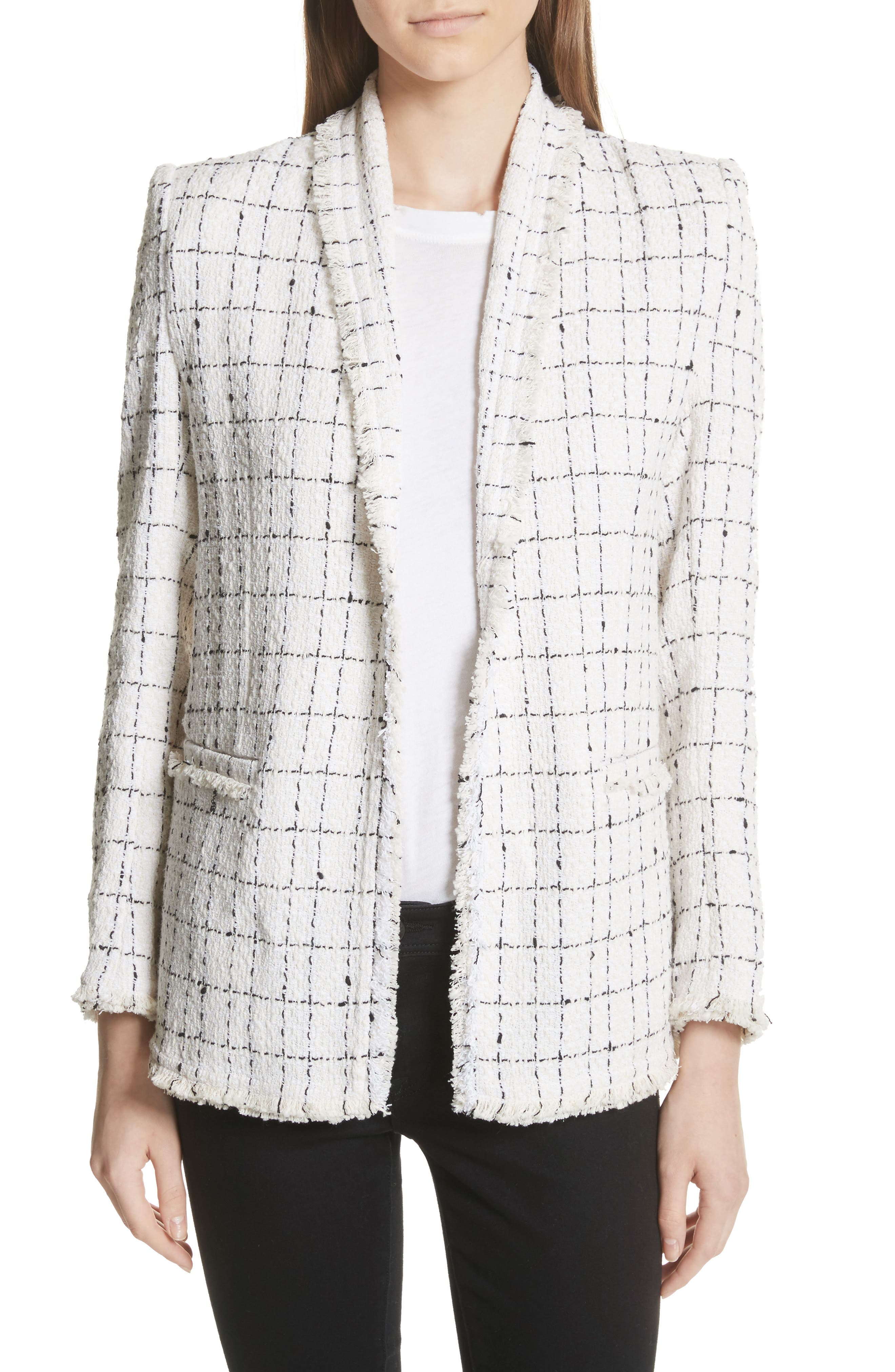 IRO Quanto Windowpane Tweed Blazer