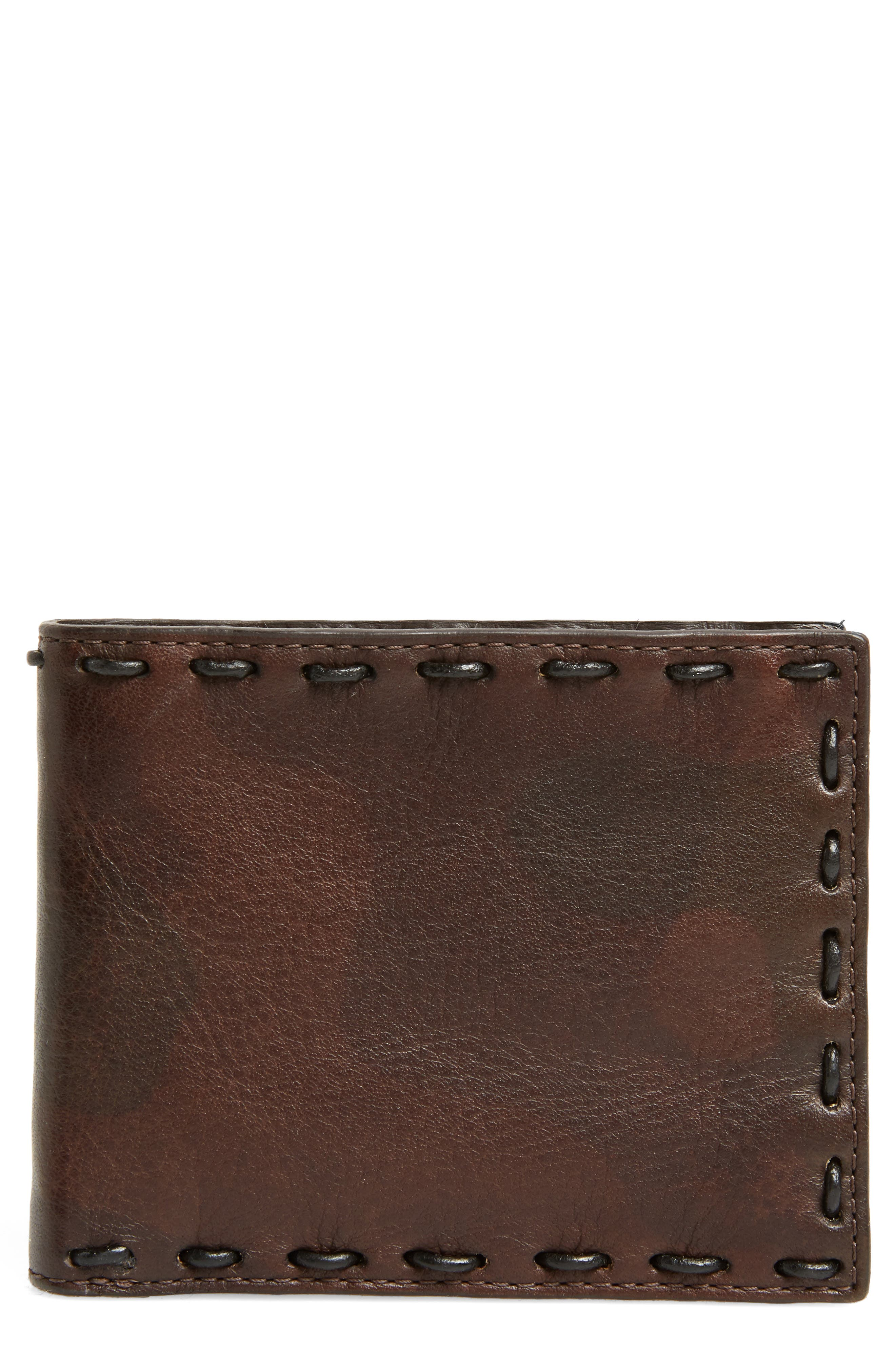 Marble Pickstitched Leather Wallet,                             Main thumbnail 1, color,                             Distressed Brown