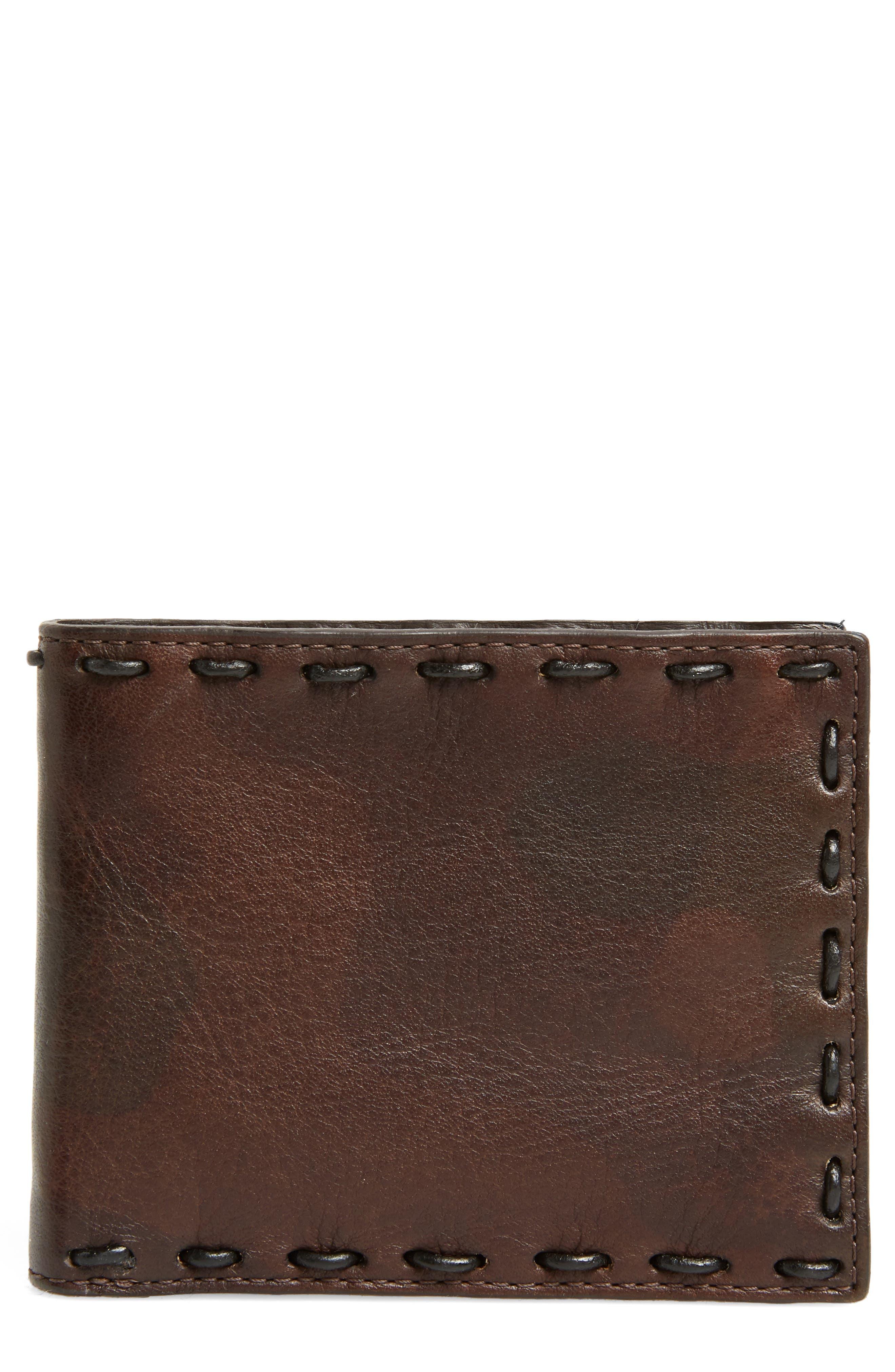 John Varvatos Marble Pickstitched Leather Wallet