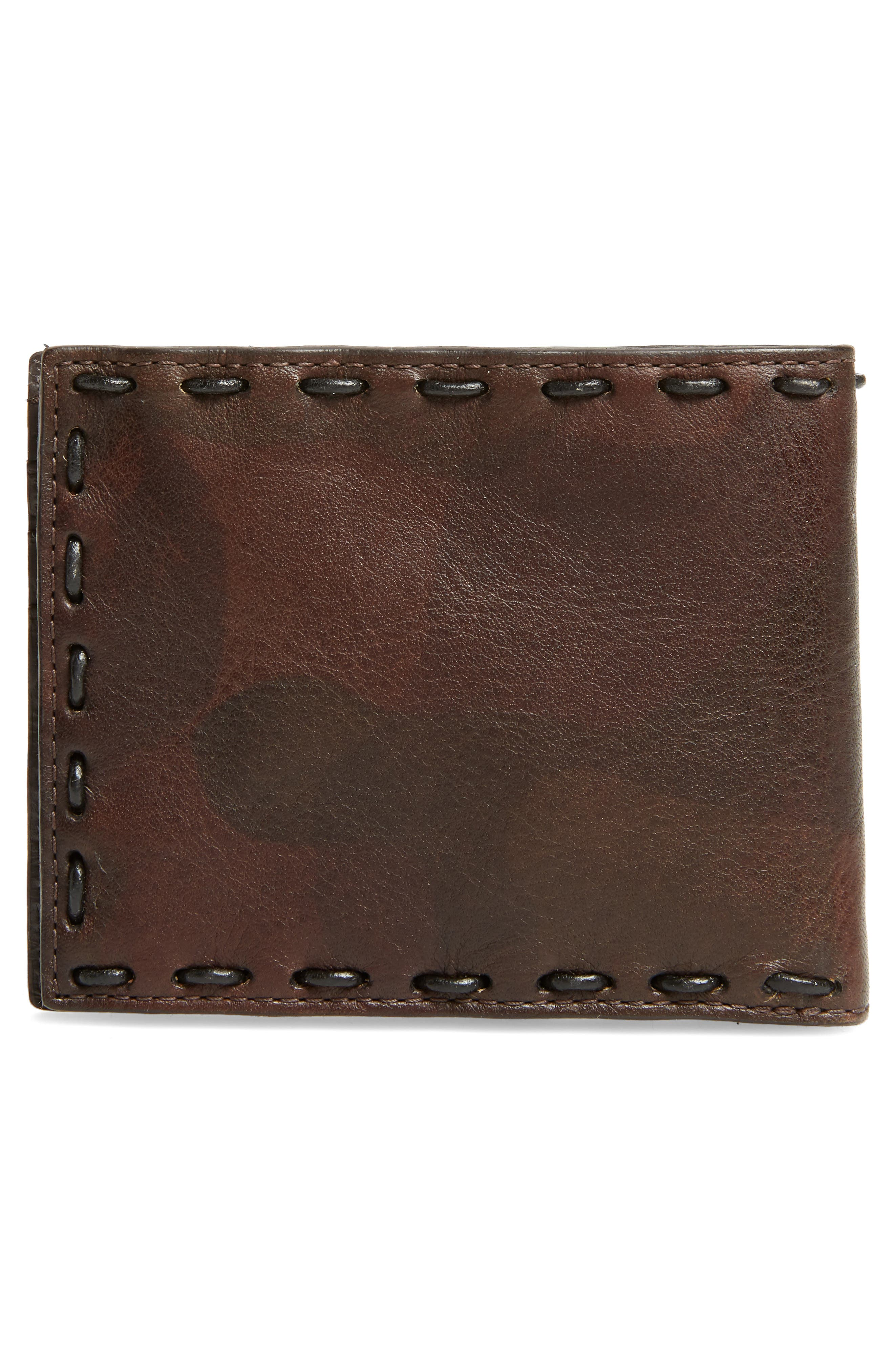 Marble Pickstitched Leather Wallet,                             Alternate thumbnail 3, color,                             Distressed Brown