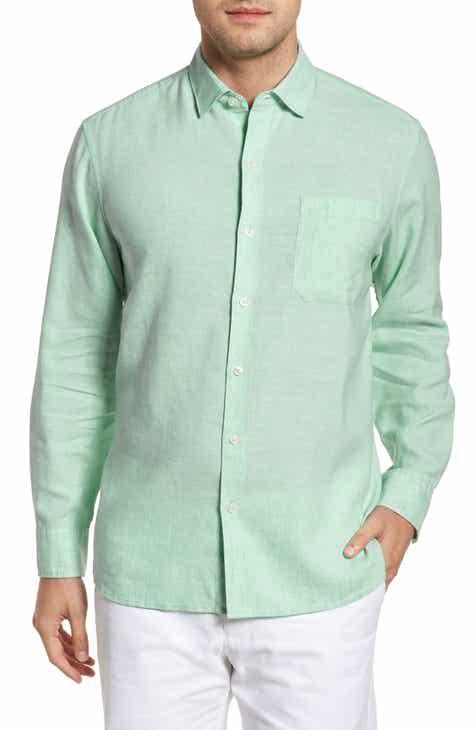 Tommy Bahama Lanai Tides Regular Fit Linen Blend Sport Shirt