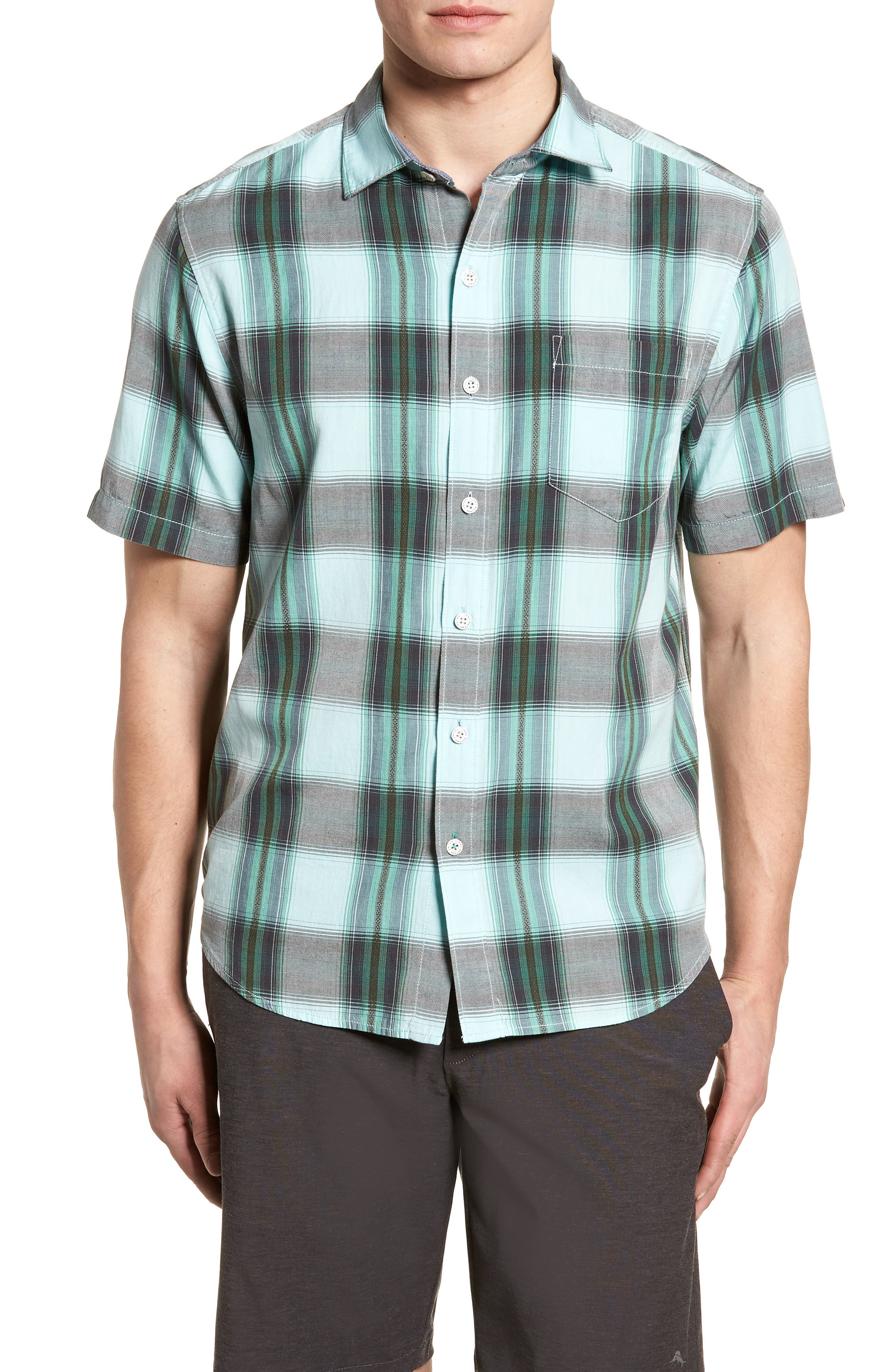 Biscayne Plaid Regular Fit Sport Shirt,                             Main thumbnail 1, color,                             Aqua Mist
