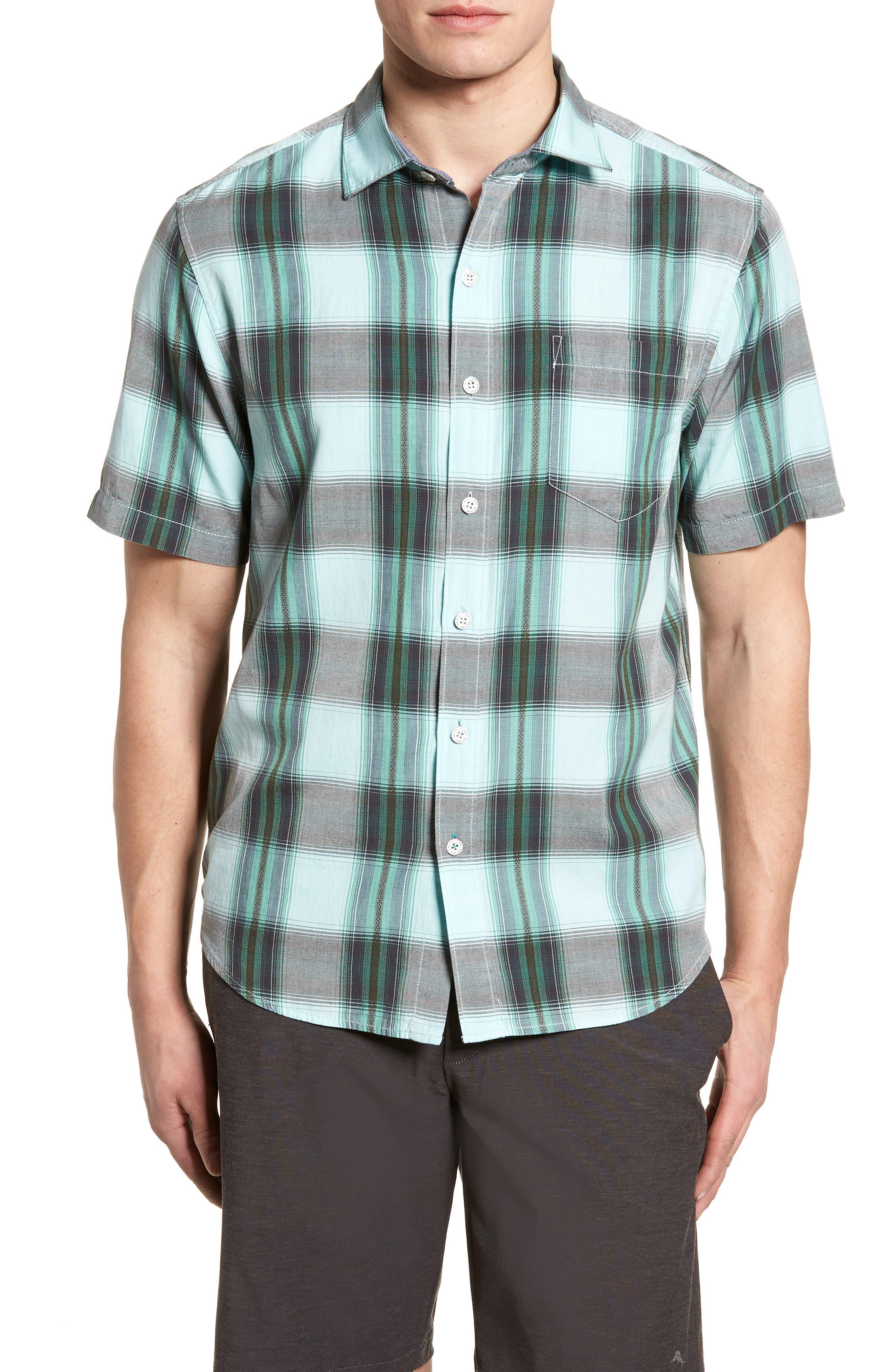 Biscayne Plaid Regular Fit Sport Shirt,                         Main,                         color, Aqua Mist