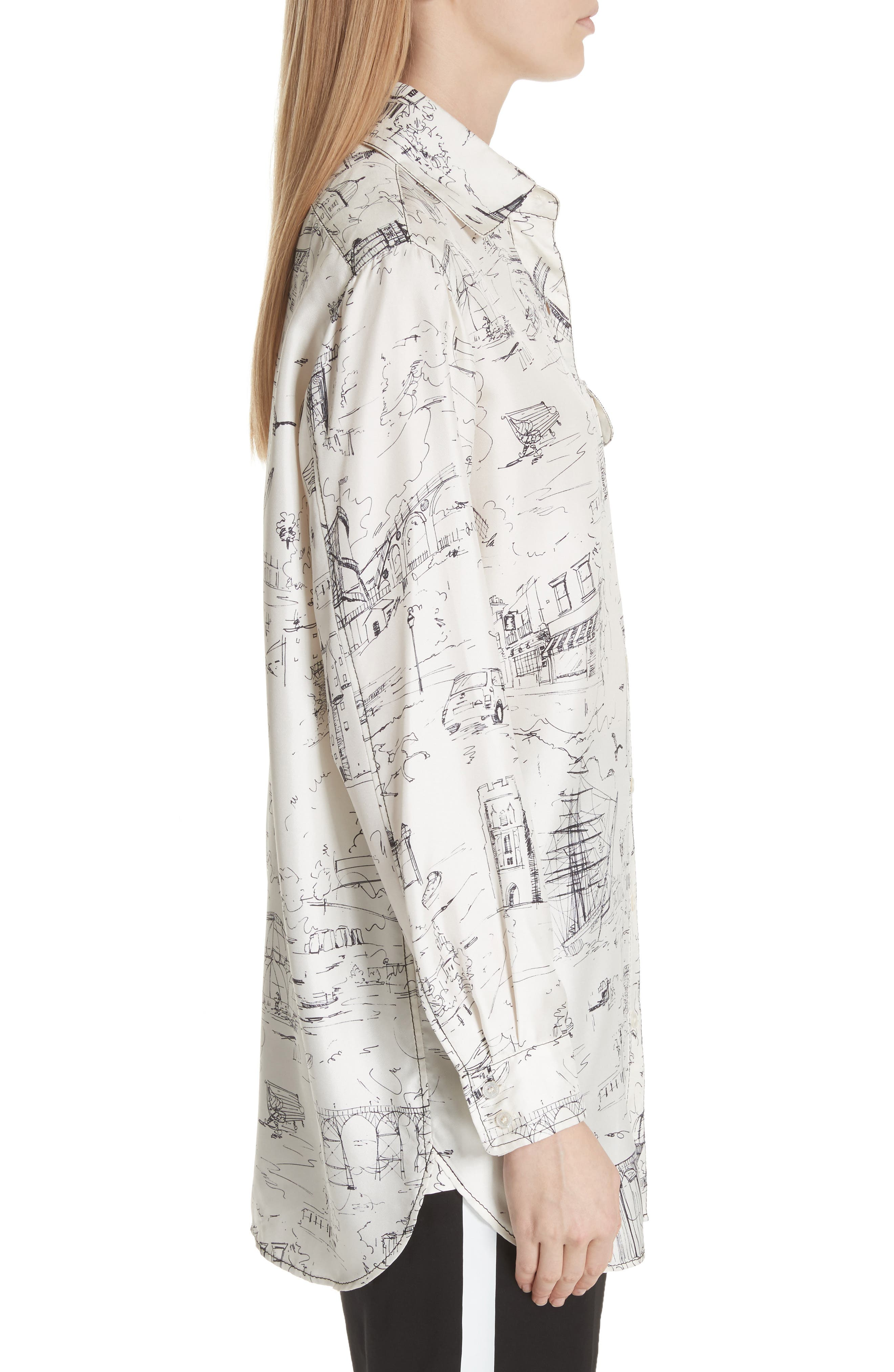 Chava Sketch Silk Shirt,                             Alternate thumbnail 3, color,                             Off White