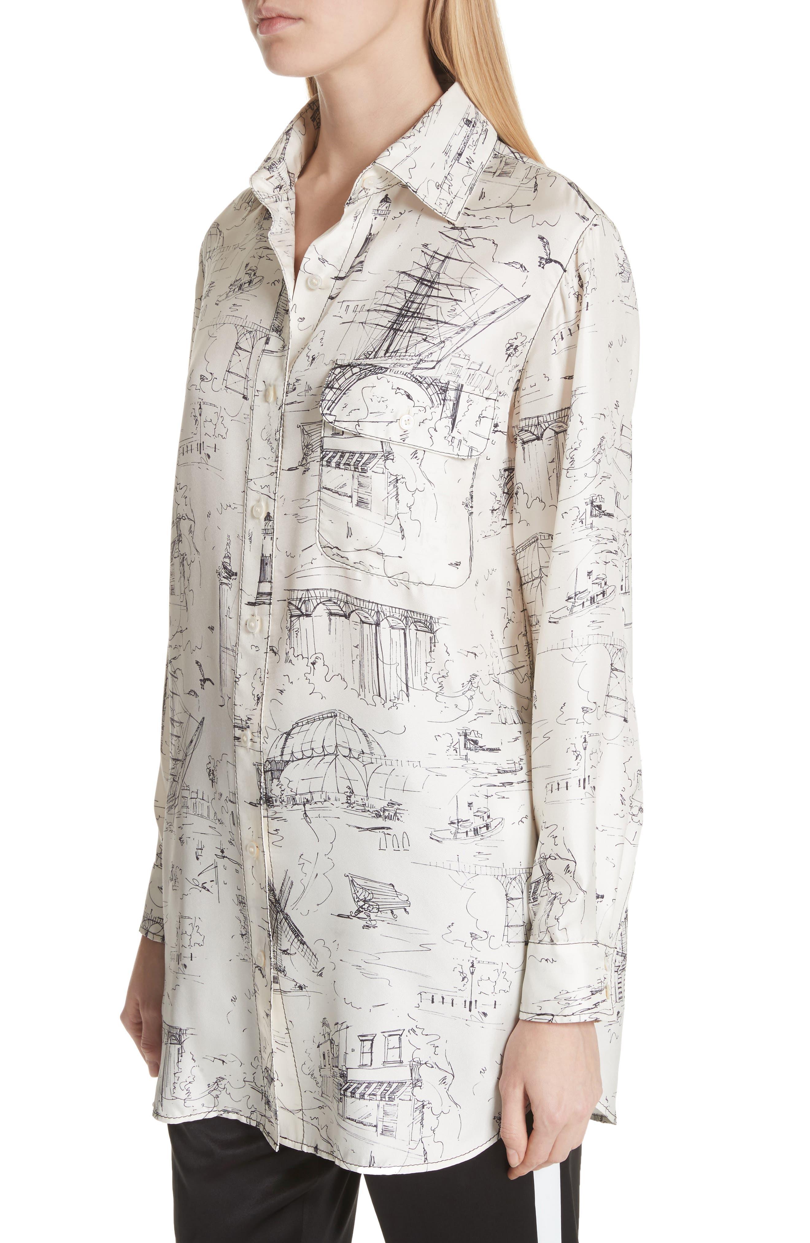 Chava Sketch Silk Shirt,                             Alternate thumbnail 4, color,                             Off White