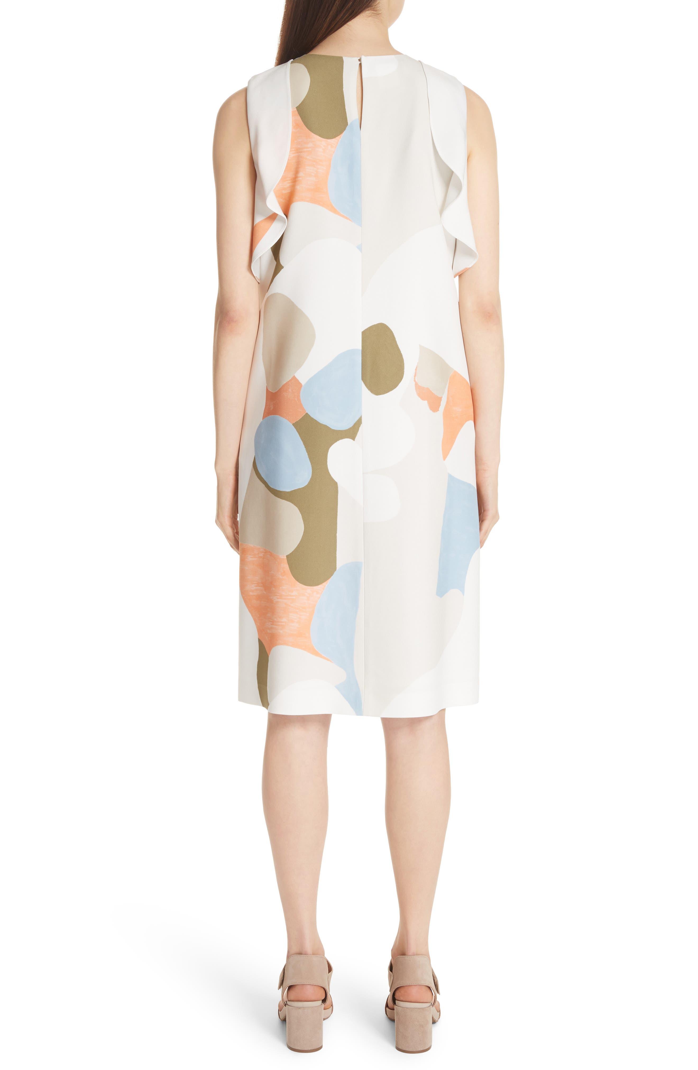 Landscape Expression Print Ruffle Dress,                             Alternate thumbnail 2, color,                             Cloud Multi