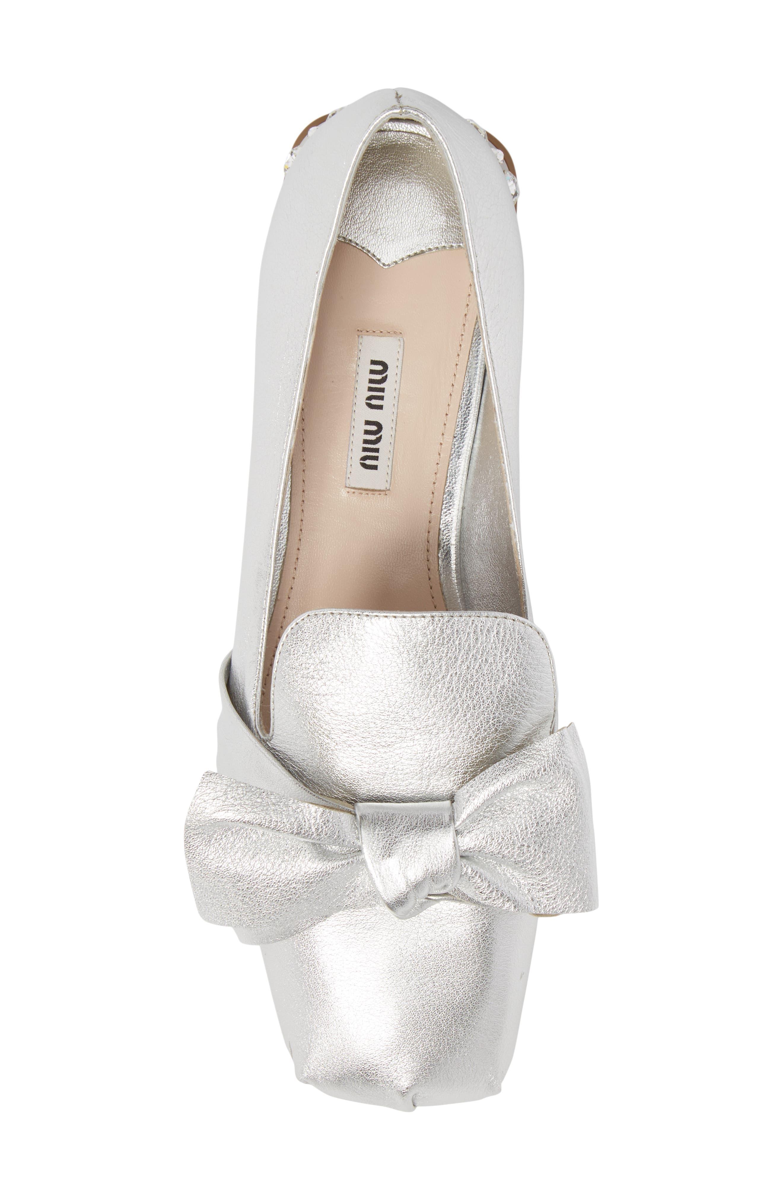 Embellished Heel Bow Loafer,                             Alternate thumbnail 5, color,                             Silver