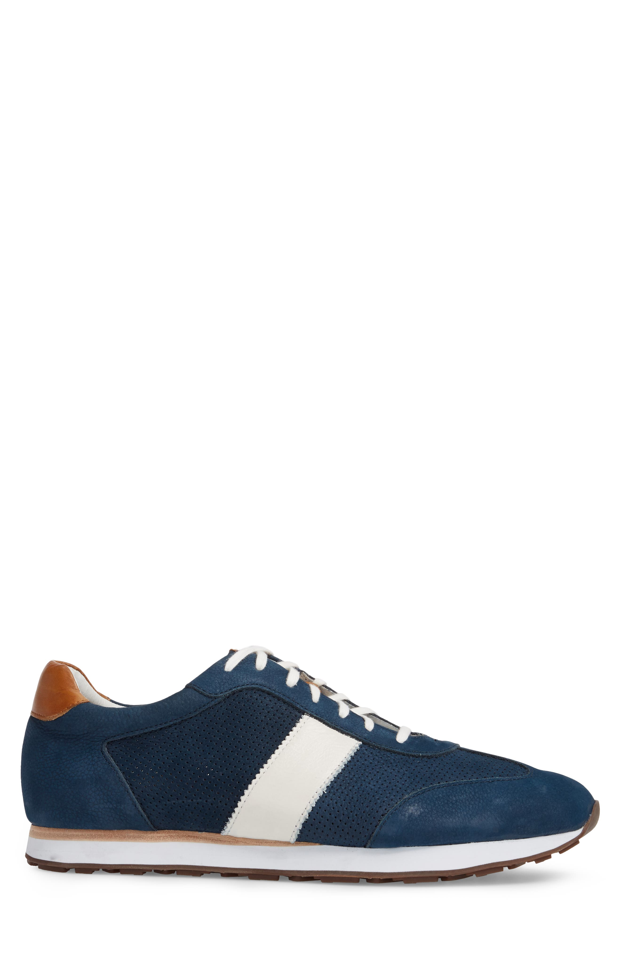 Malek Perforated Low Top Sneaker,                             Alternate thumbnail 3, color,                             Navy Nubuck Leather