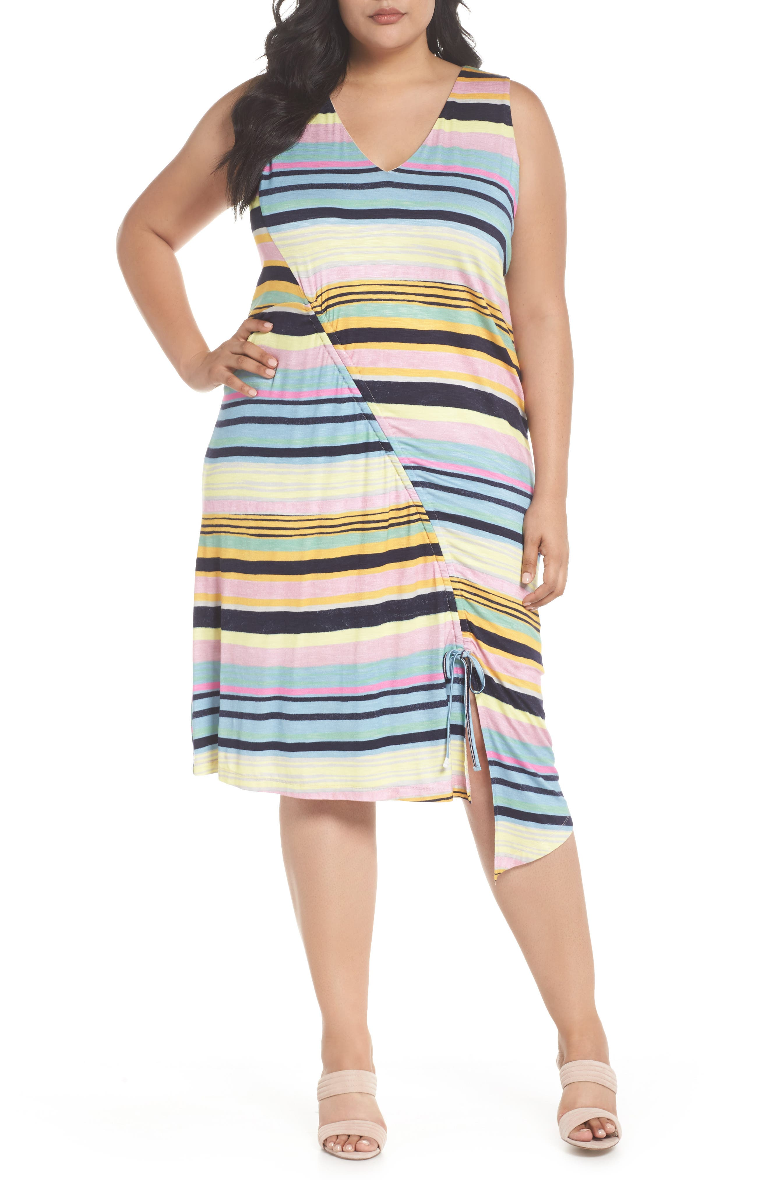 Asymmetrical Cinched Stripe Dress,                             Main thumbnail 1, color,                             Navy Combo