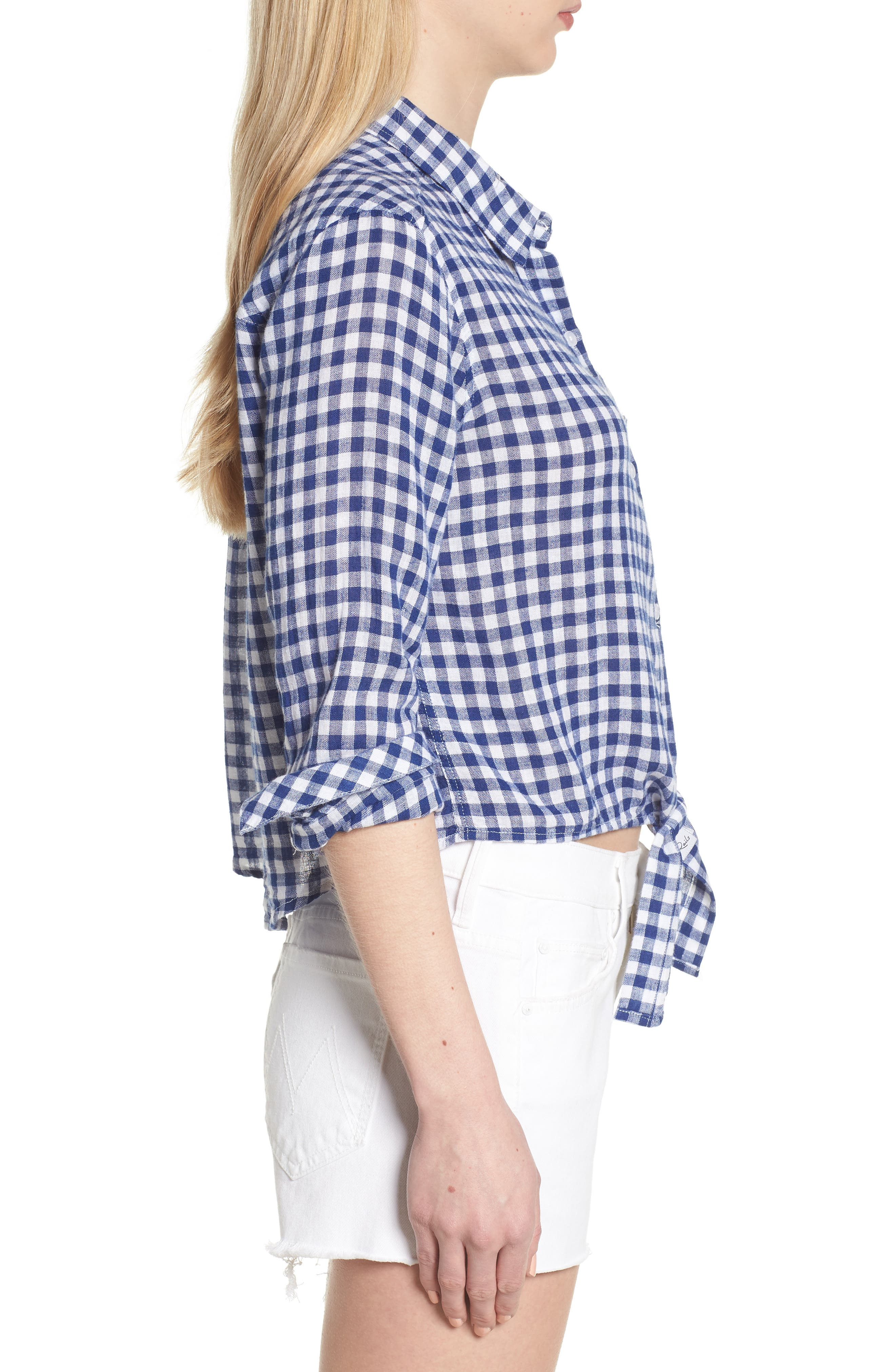 Val Gingham Tie Front Shirt,                             Alternate thumbnail 3, color,                             Blue Gingham