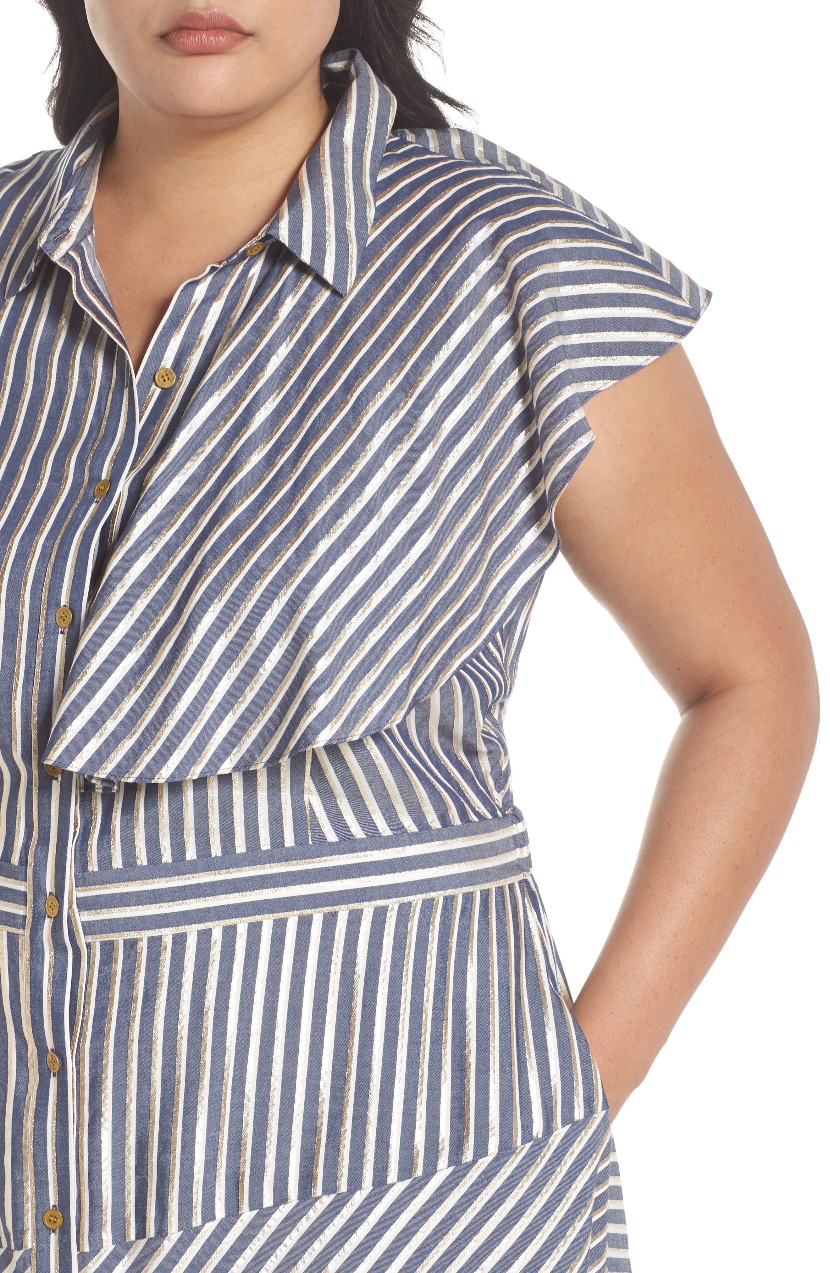Stripe Asymmetrical Ruffle Shirtdress,                             Alternate thumbnail 5, color,                             True Navy Combo