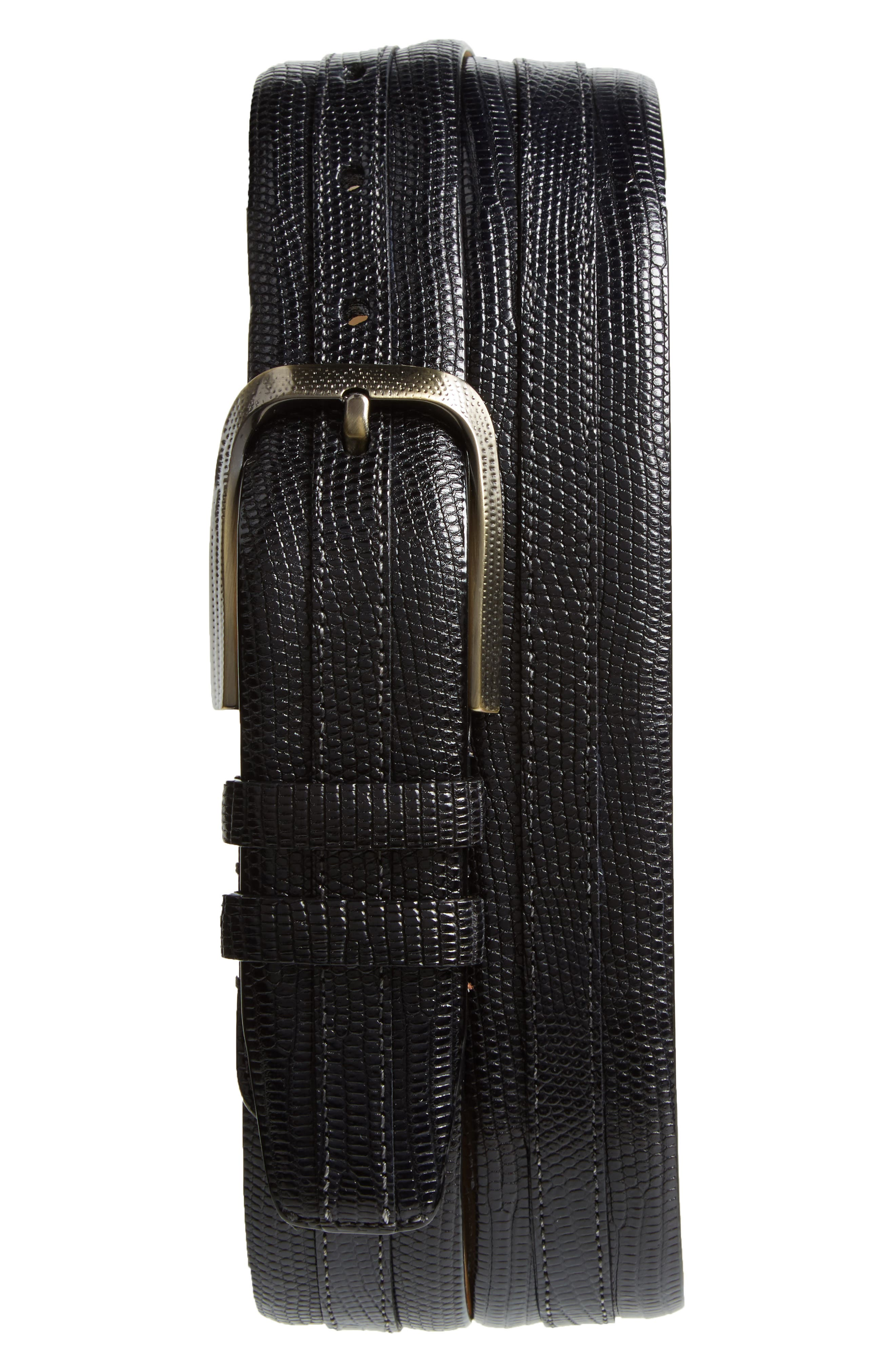 Lizard Leather Belt,                         Main,                         color, Black
