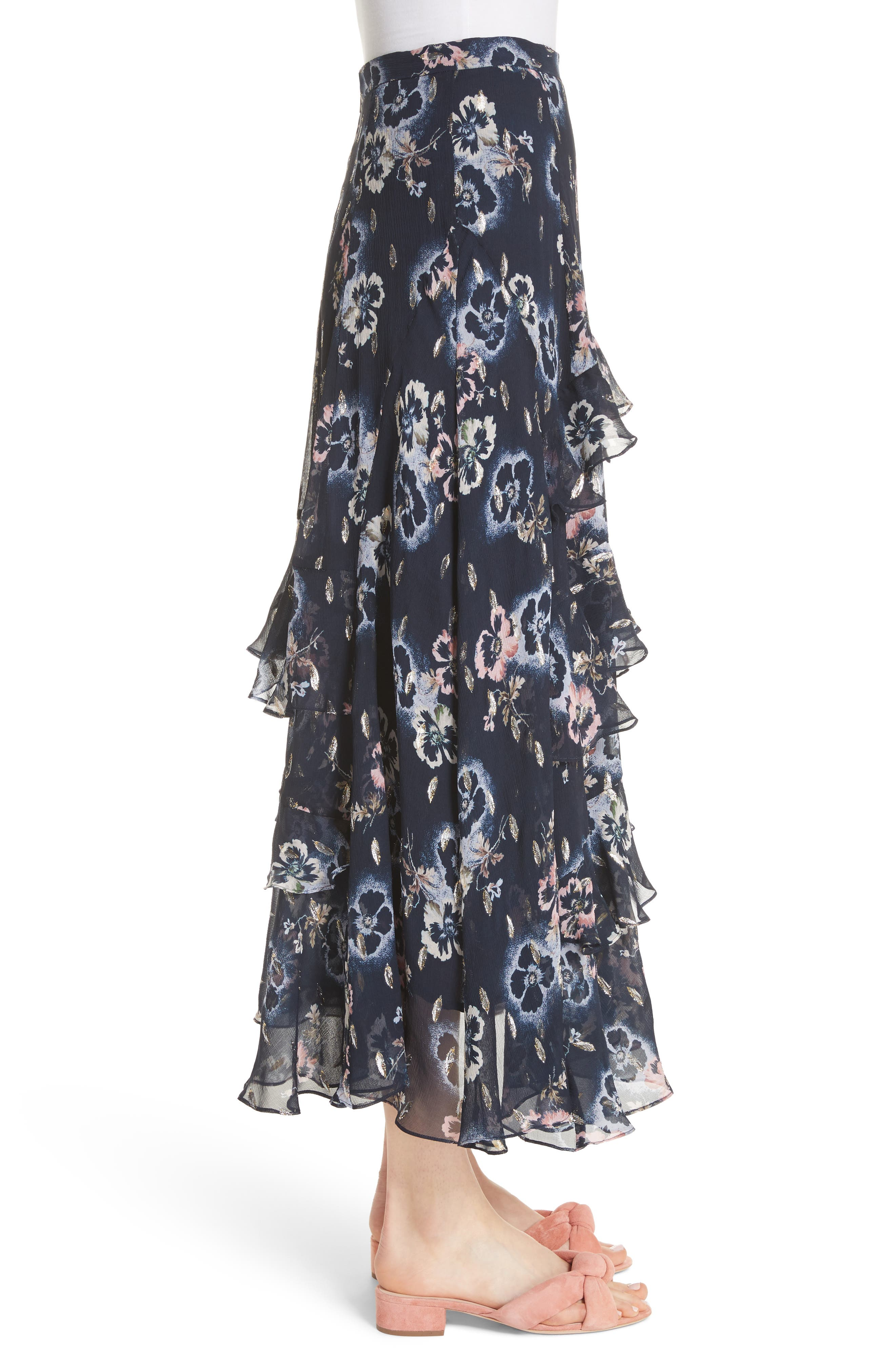 Faded Floral Midi Skirt,                             Alternate thumbnail 3, color,                             Navy