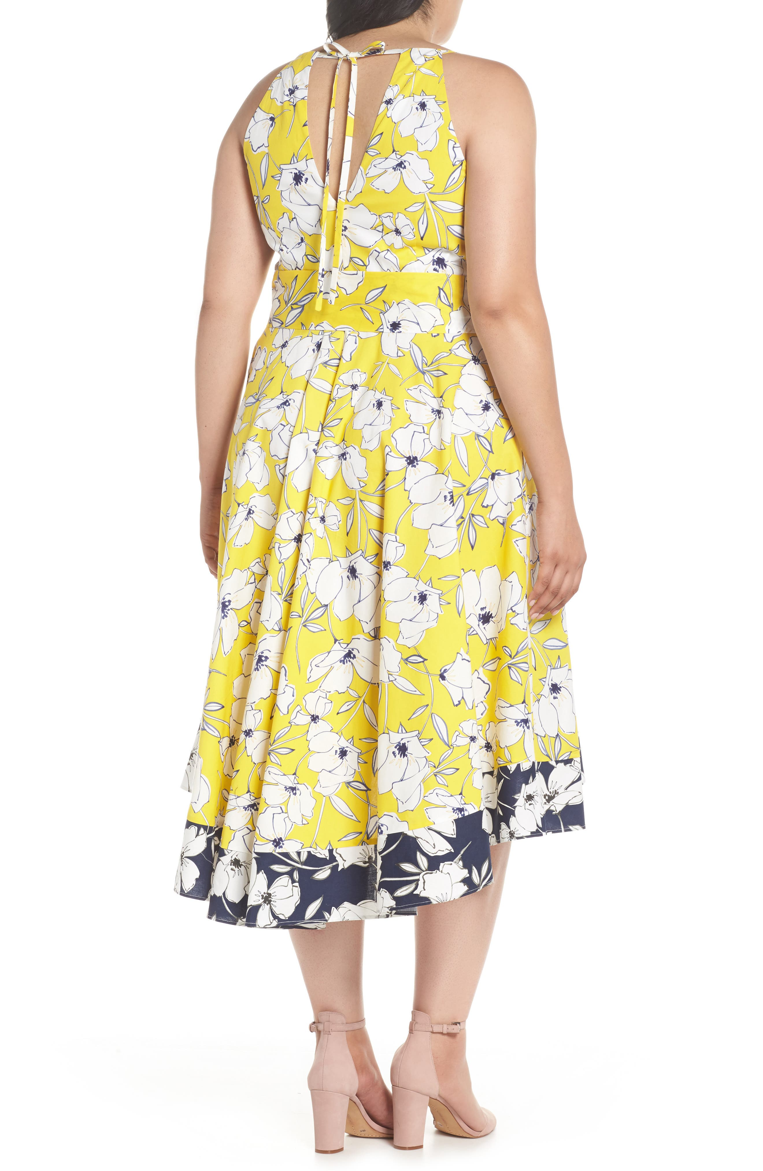 Floral Fit & Flare Dress,                             Alternate thumbnail 3, color,                             Yellow/ Navy/ White