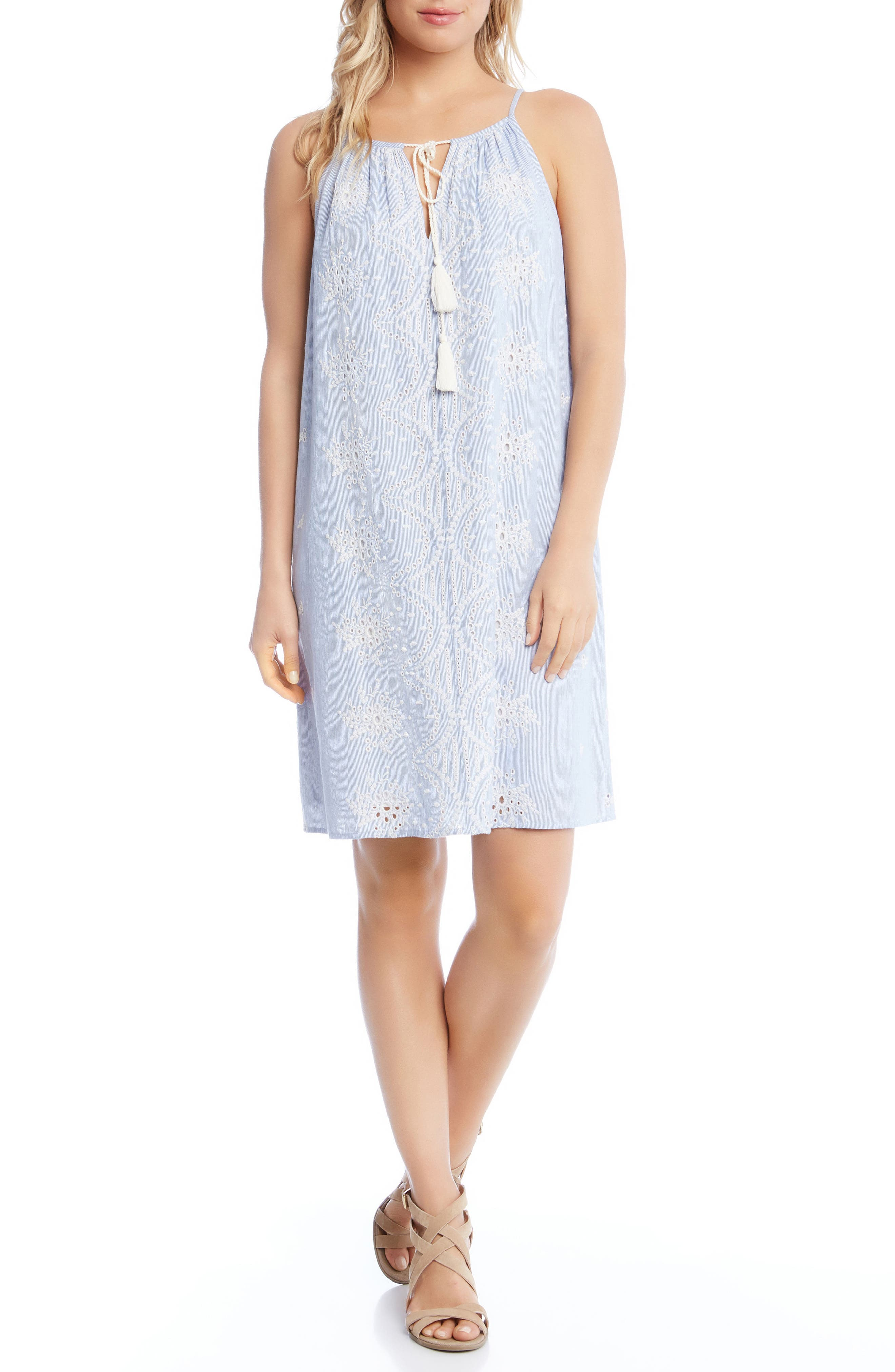 Embroidered Eyelet Shift Dress,                             Main thumbnail 1, color,                             Striped