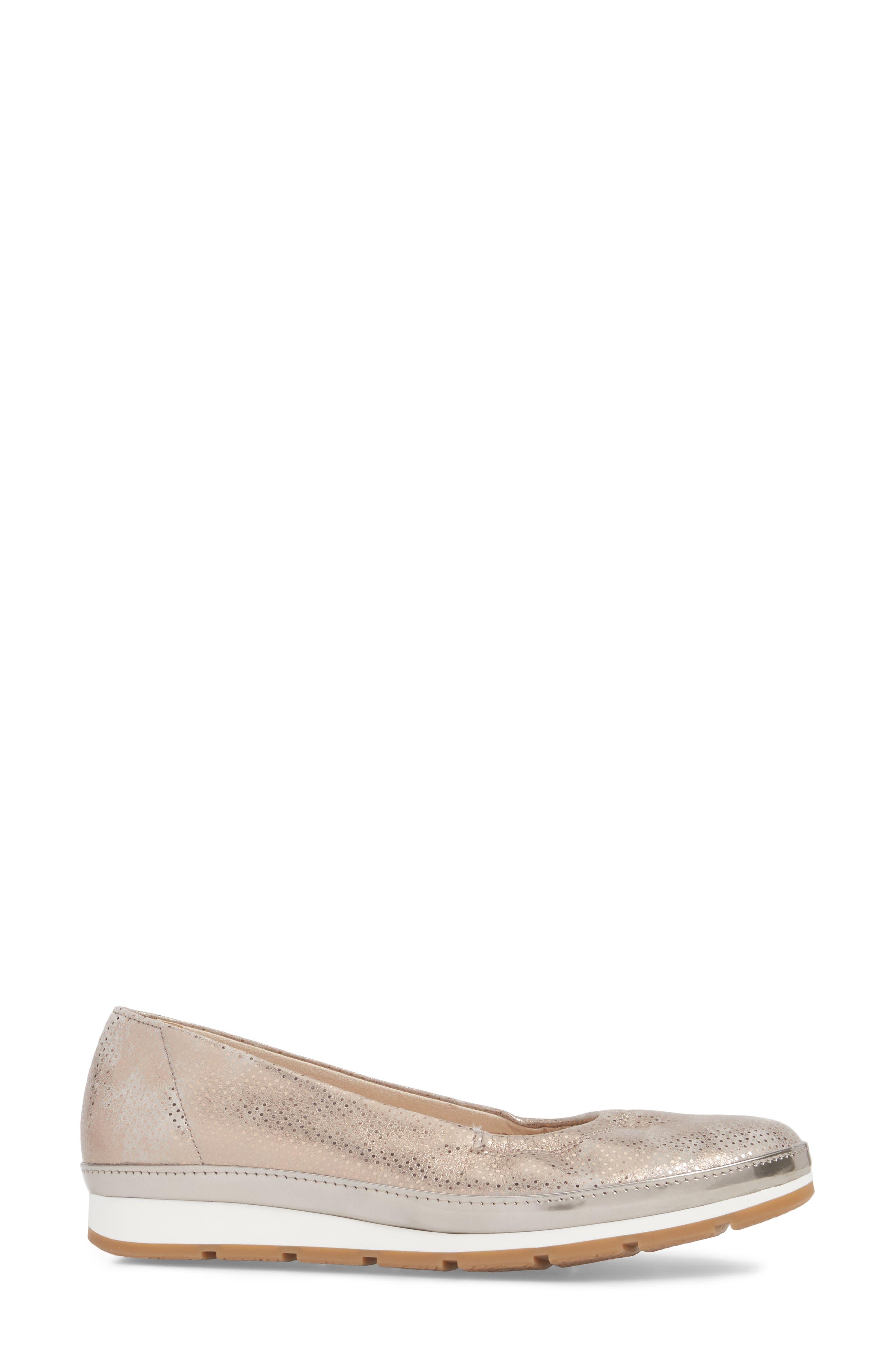Ballet Wedge,                             Alternate thumbnail 3, color,                             Beige Metallic Leather