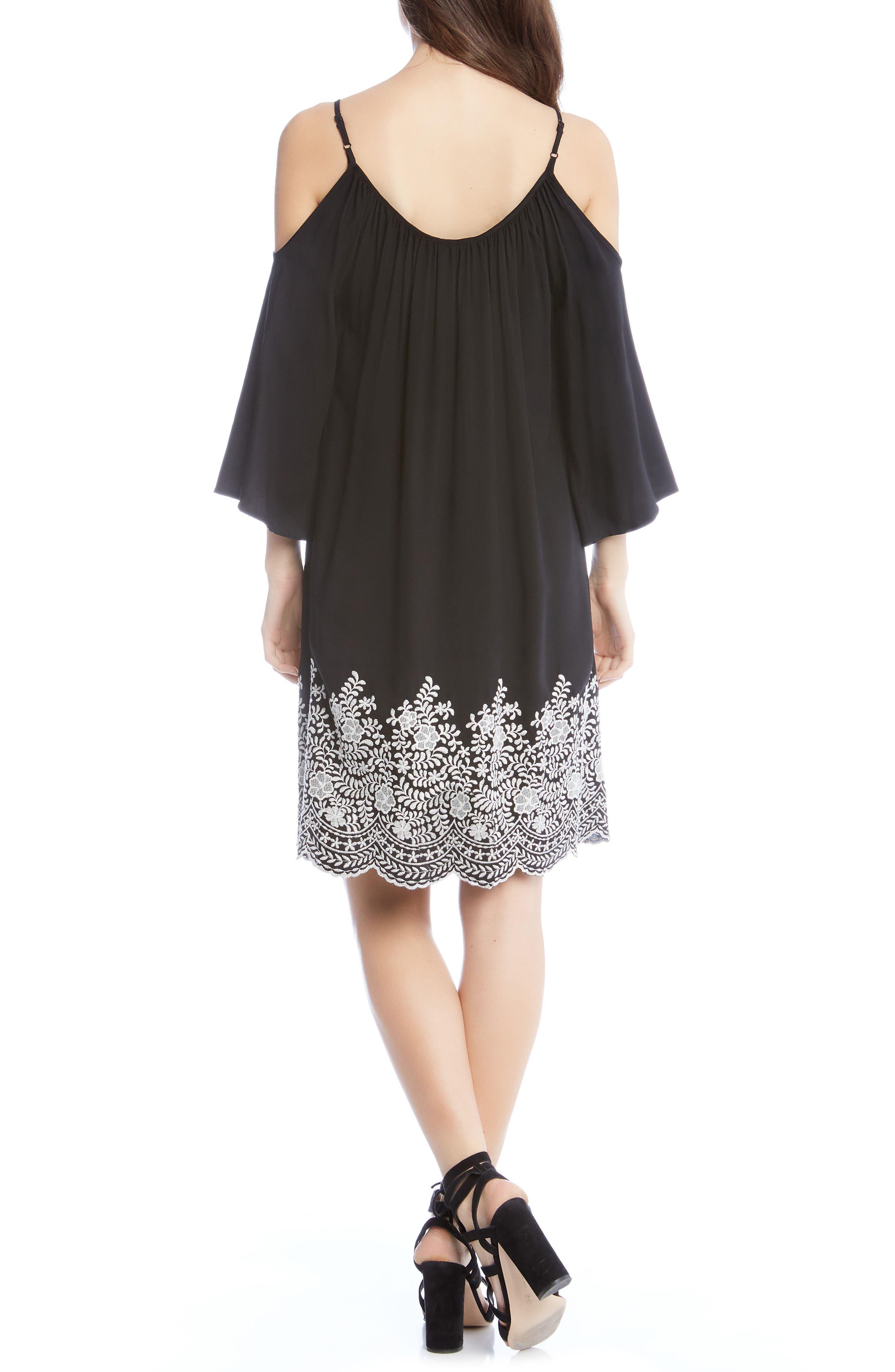 Embroidered Cold Shoulder Dress,                             Alternate thumbnail 2, color,                             Black