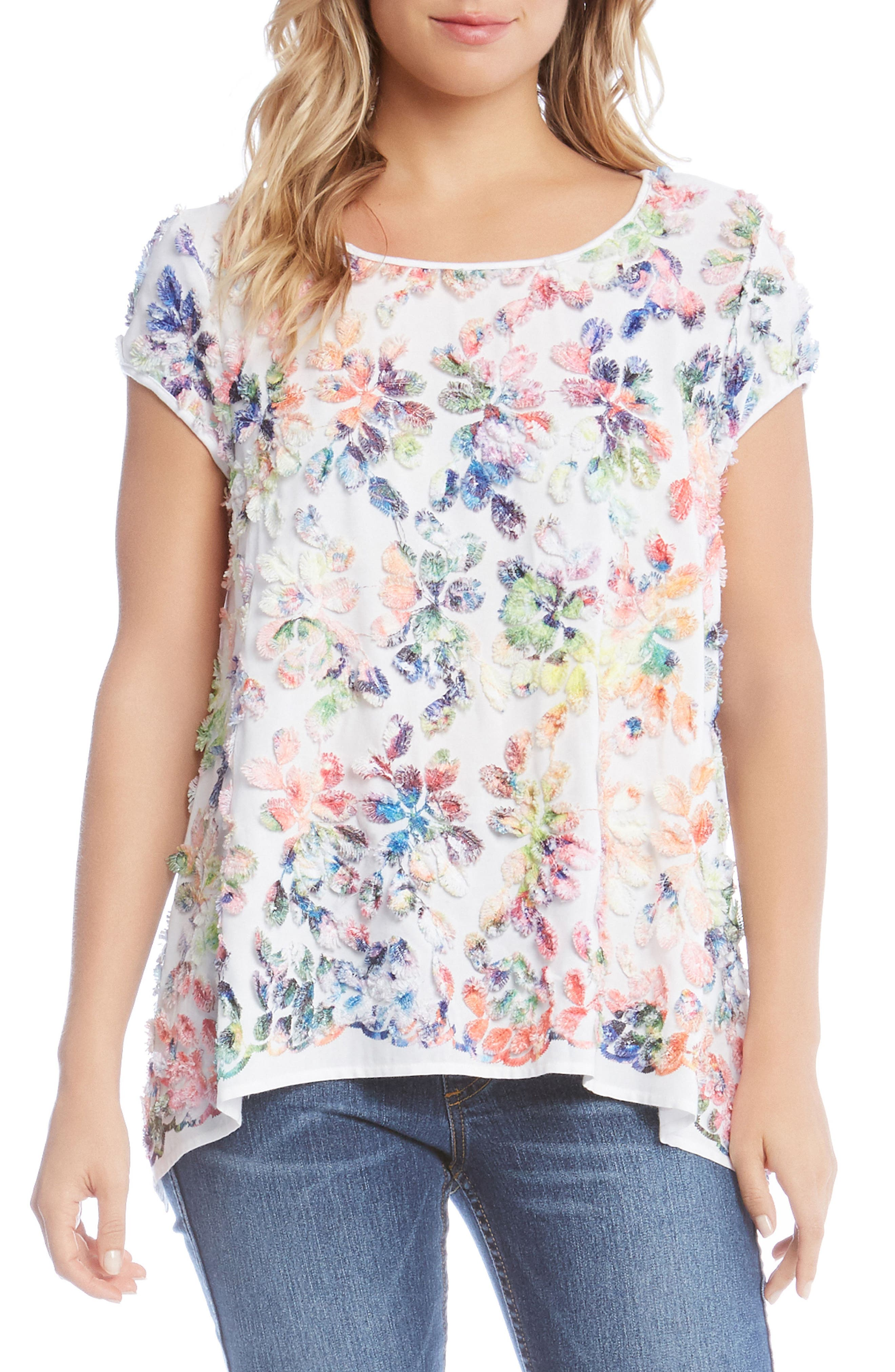 Frayed Rainbow Leaf Top,                         Main,                         color, White