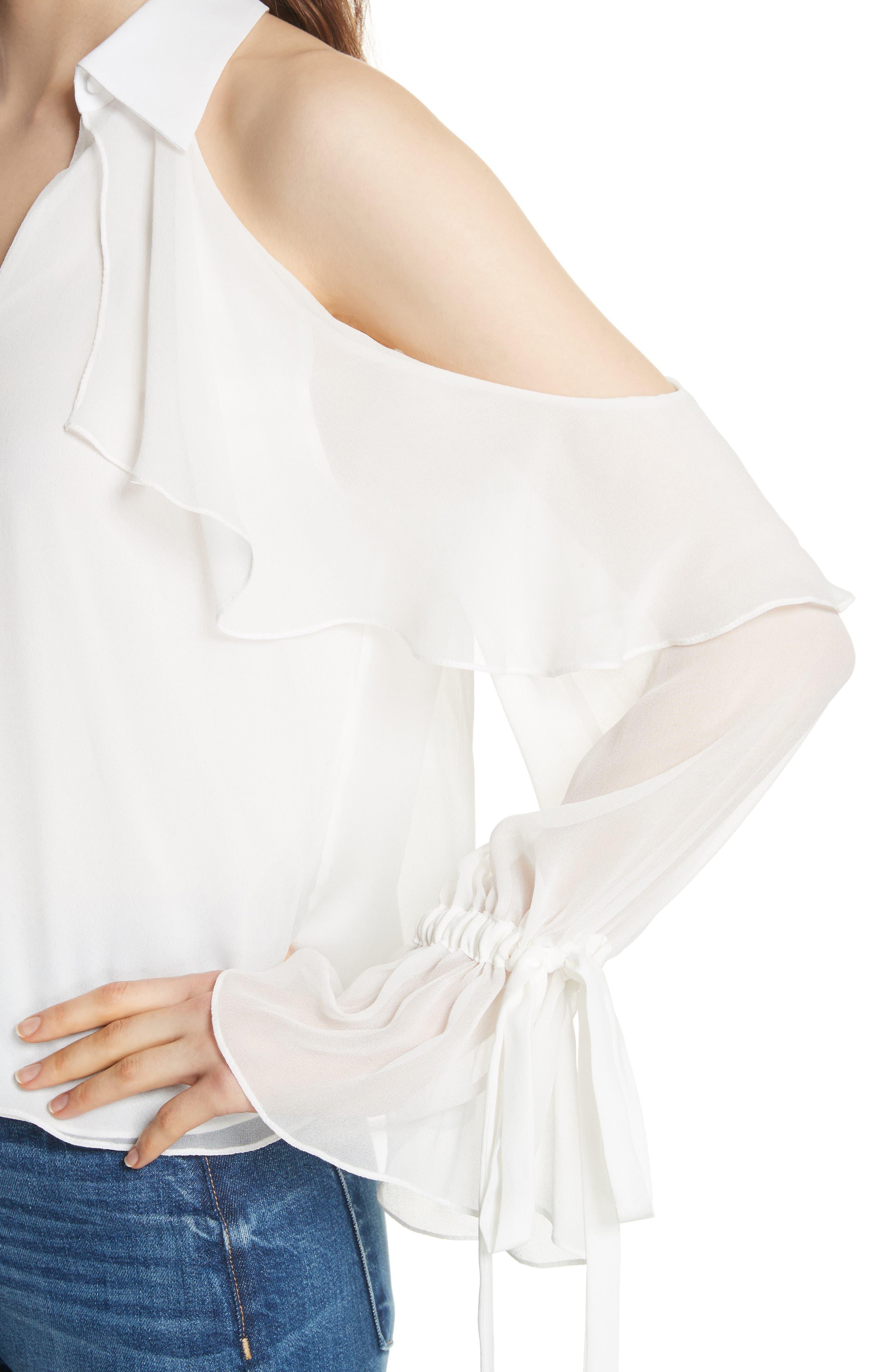 Blayne Cold Shoulder Silk Blouse,                             Alternate thumbnail 4, color,                             Off White