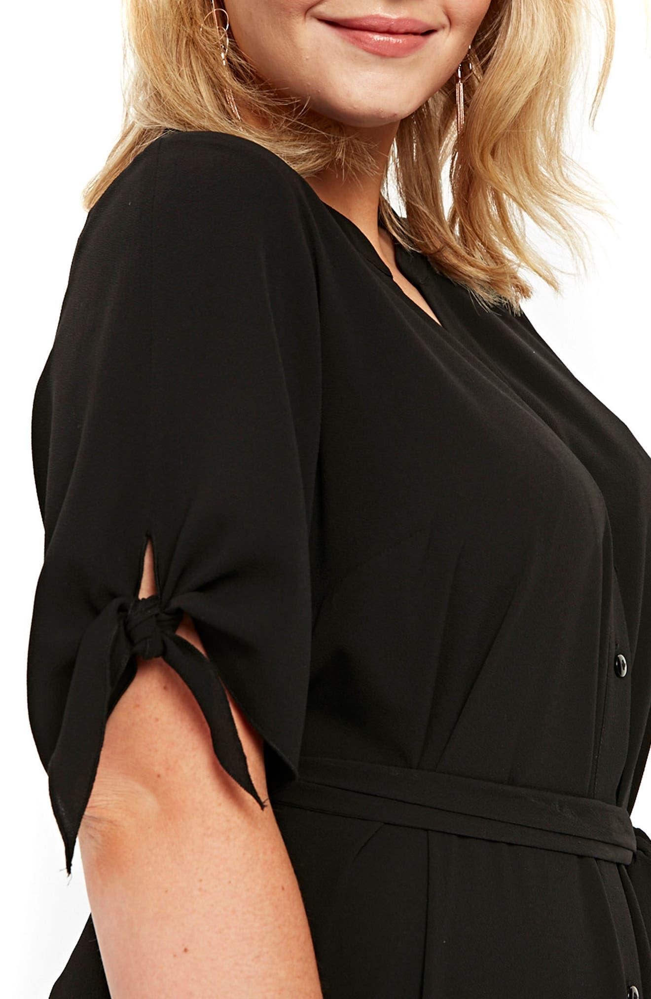 Tie Sleeve Maxi Shirtdress,                             Alternate thumbnail 3, color,                             Black