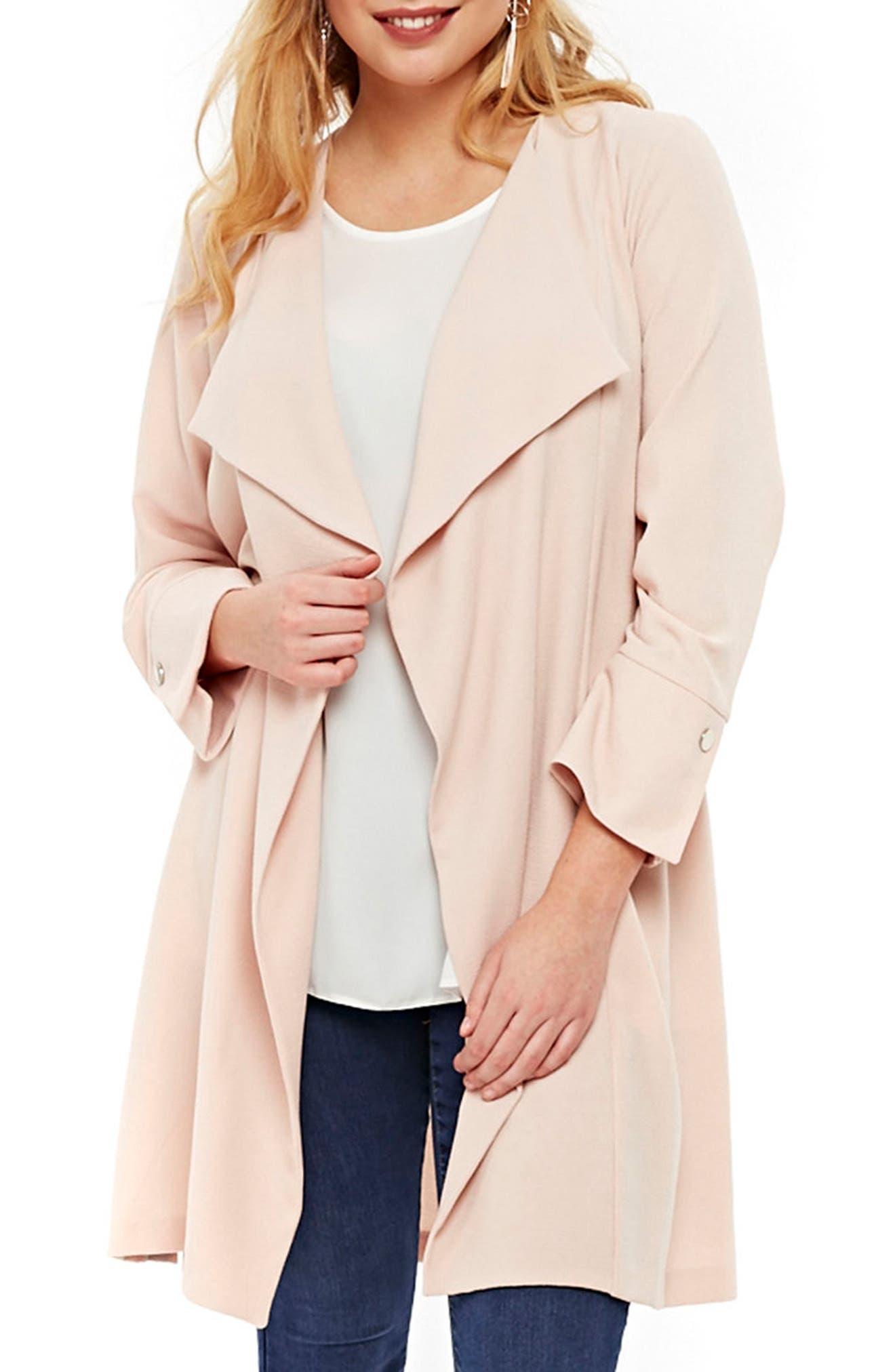 Stud Detail Longline Jacket,                         Main,                         color, Blush