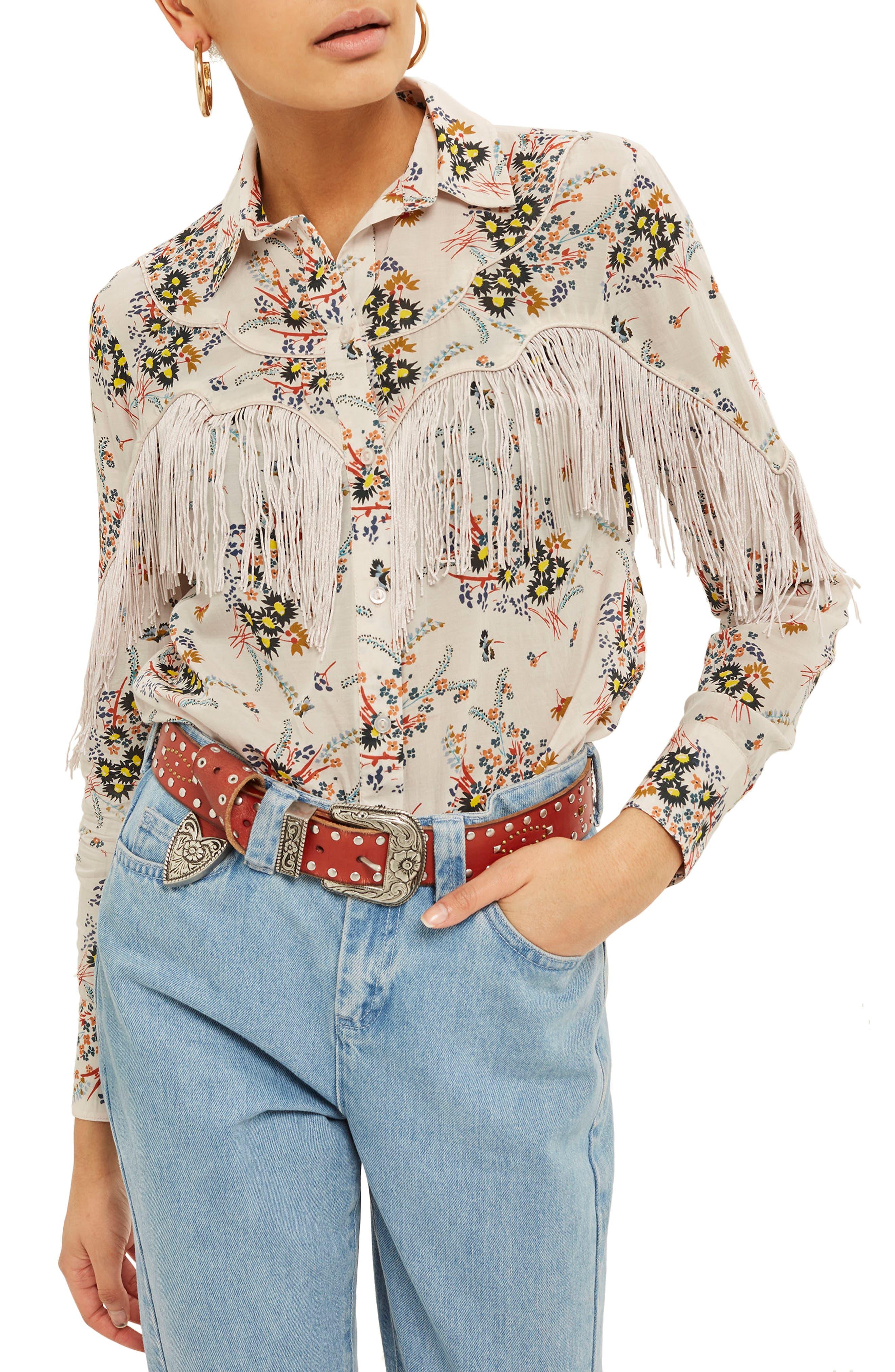 Rodeo Fringe Floral Shirt,                             Main thumbnail 1, color,                             Ivory Multi