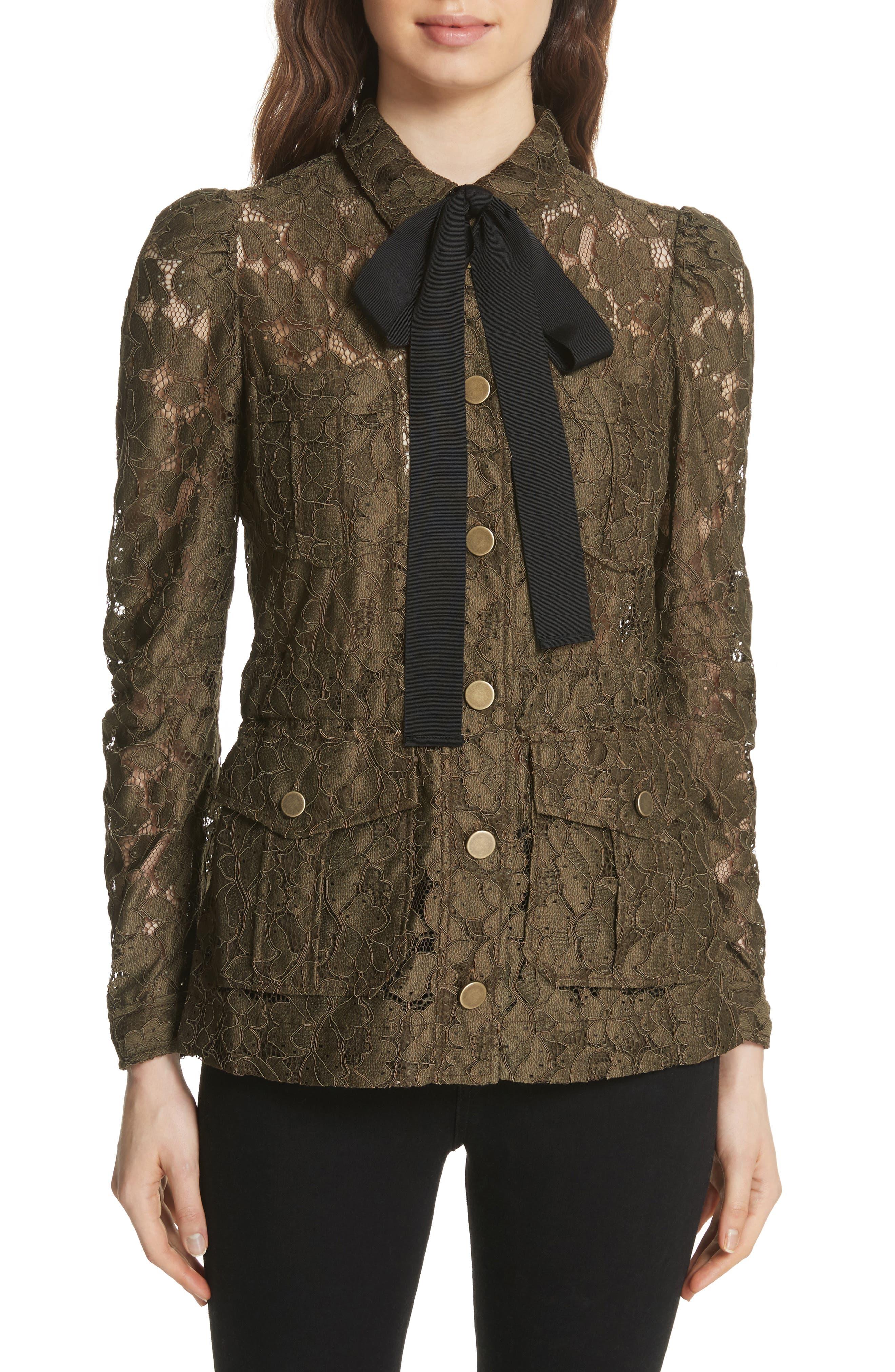 Veronica Beard Daniela Tie Neck Lace Army Jacket