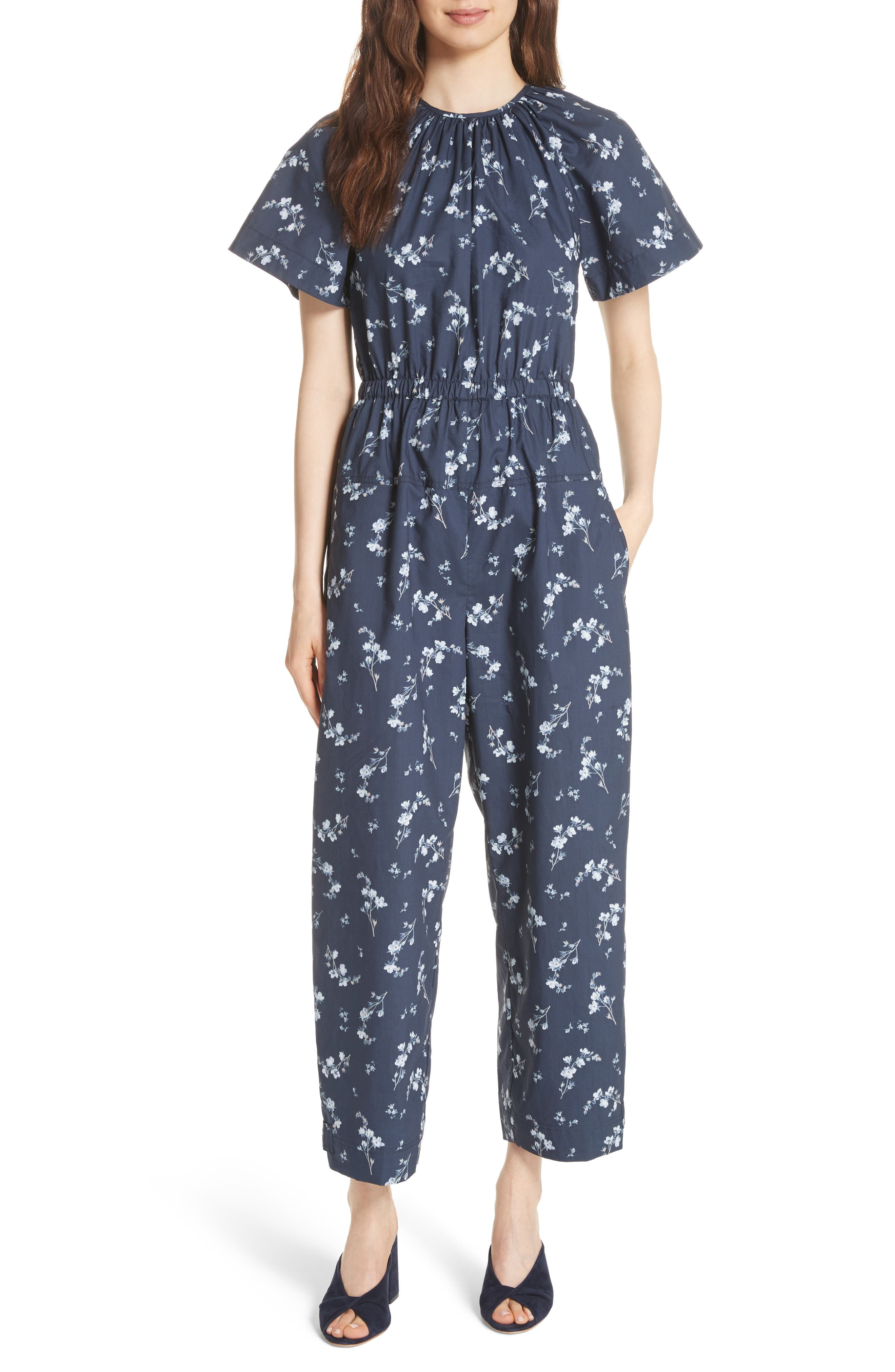 Francine Floral Print Jumpsuit,                         Main,                         color, Navy Combo