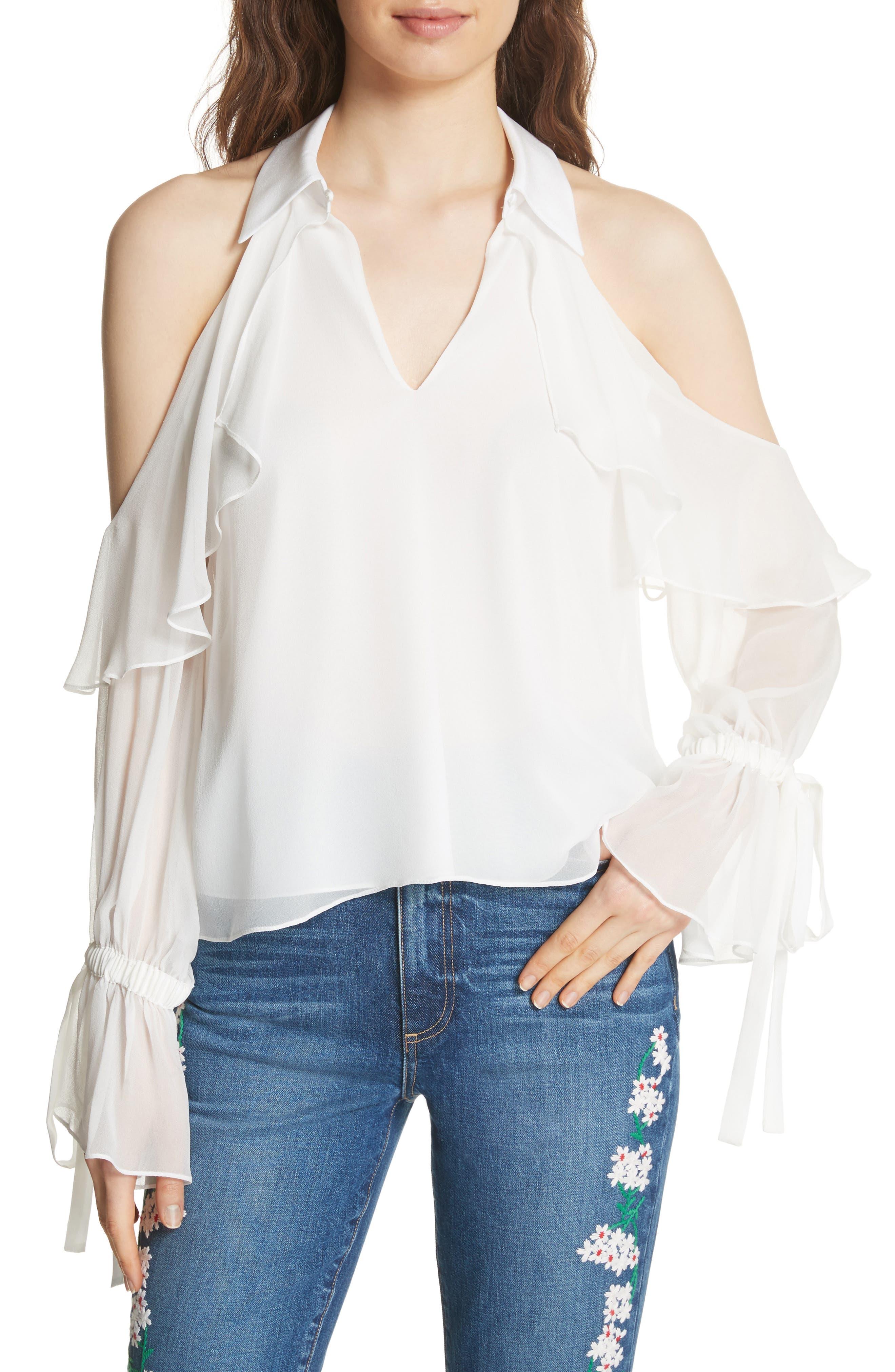 Blayne Cold Shoulder Silk Blouse,                             Main thumbnail 1, color,                             Off White
