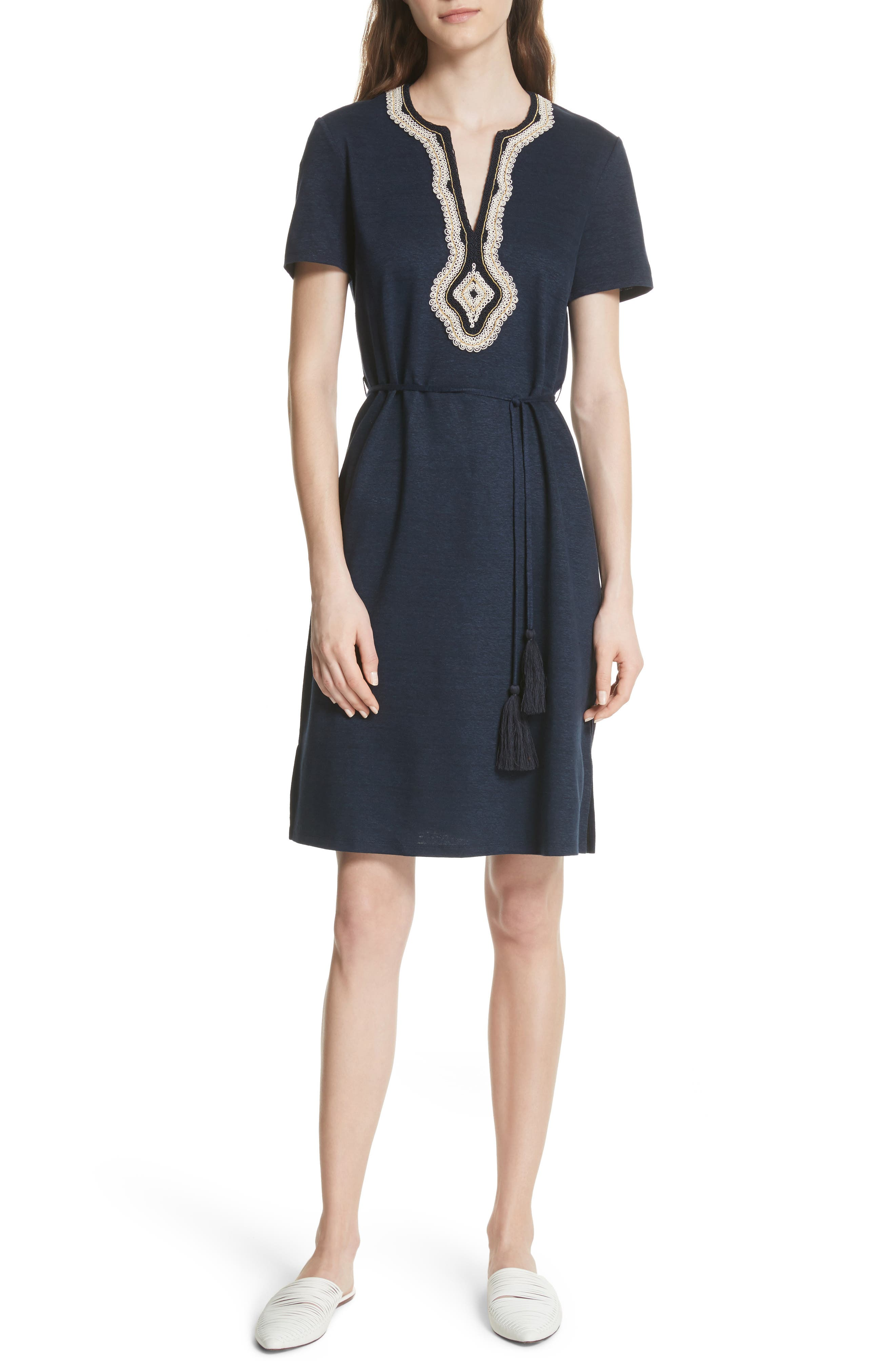 Embroidered Knit Dress,                             Main thumbnail 1, color,                             Tory Navy