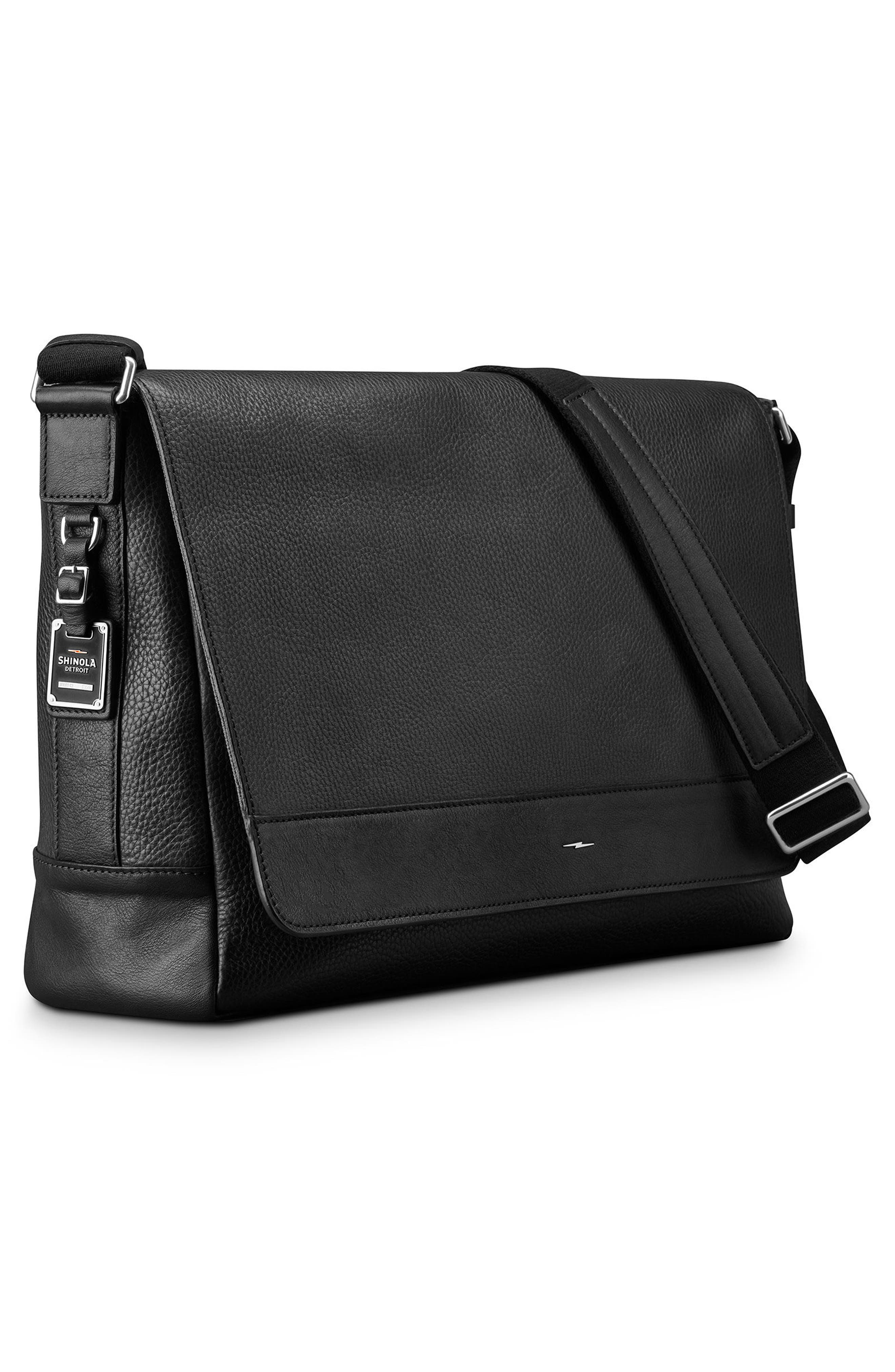 Luxe Grain Canfield Leather Messenger Bag,                             Alternate thumbnail 4, color,                             Black