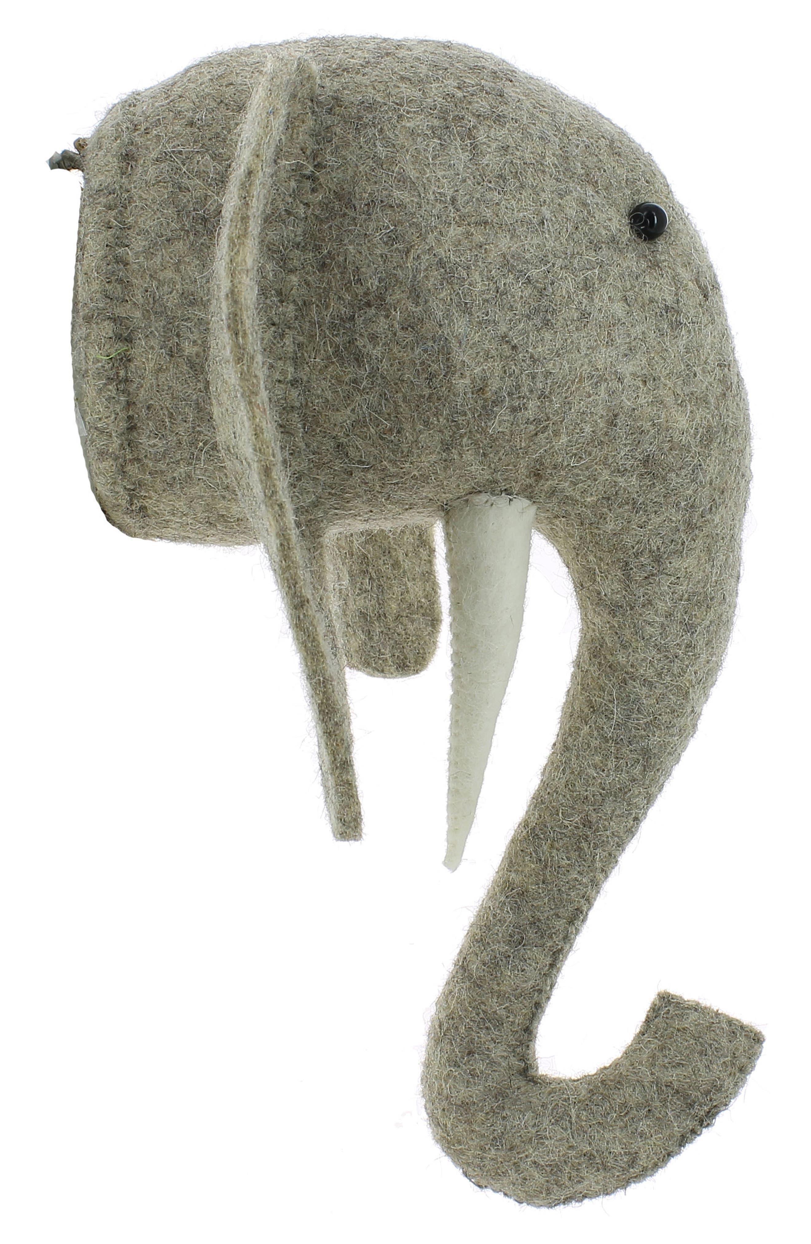 Mini Elephant Head Wall Art,                             Alternate thumbnail 2, color,                             Grey