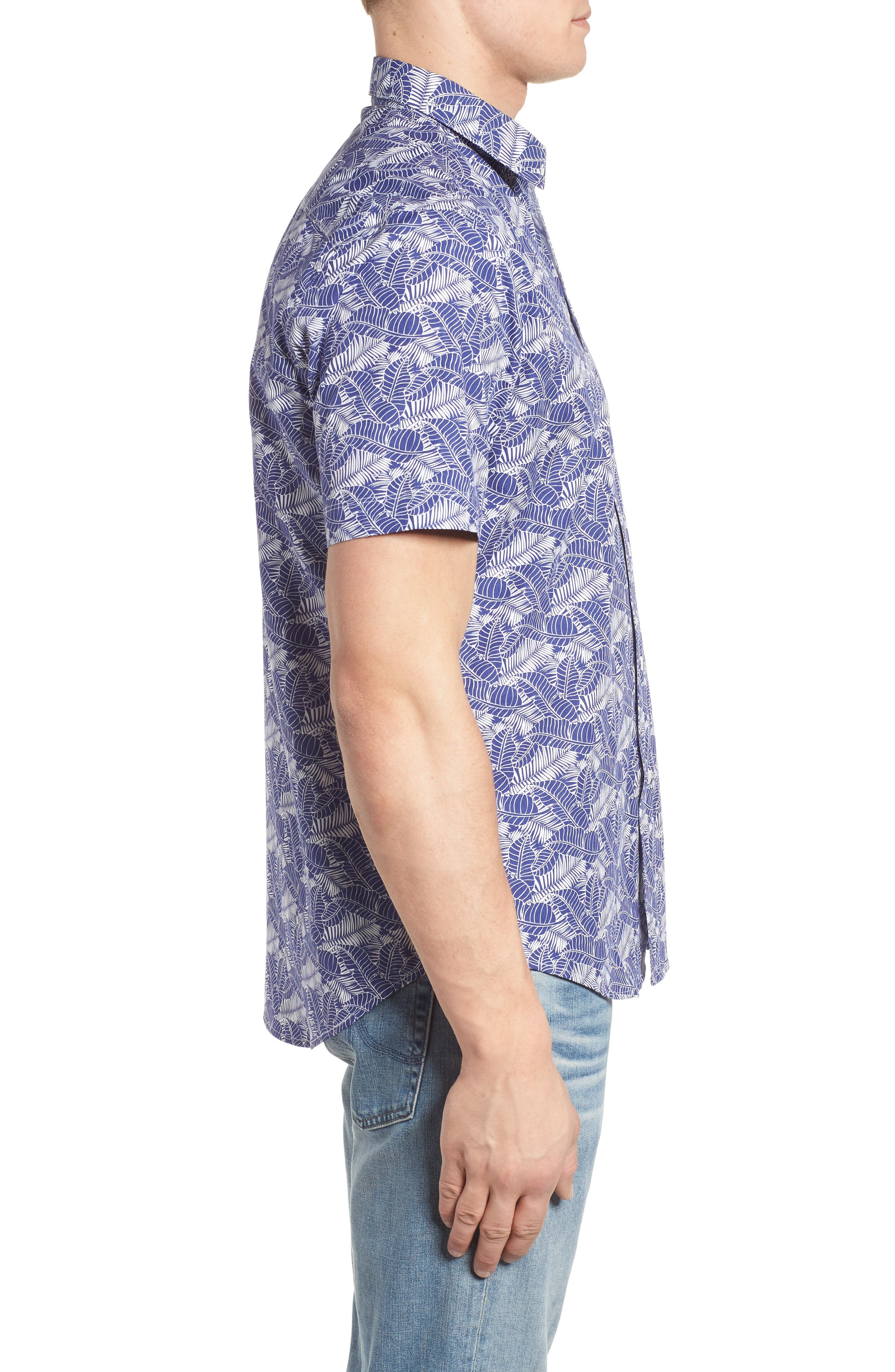 Lajoyas Regular Fit Palm Print Sport Shirt,                             Alternate thumbnail 4, color,                             Blue