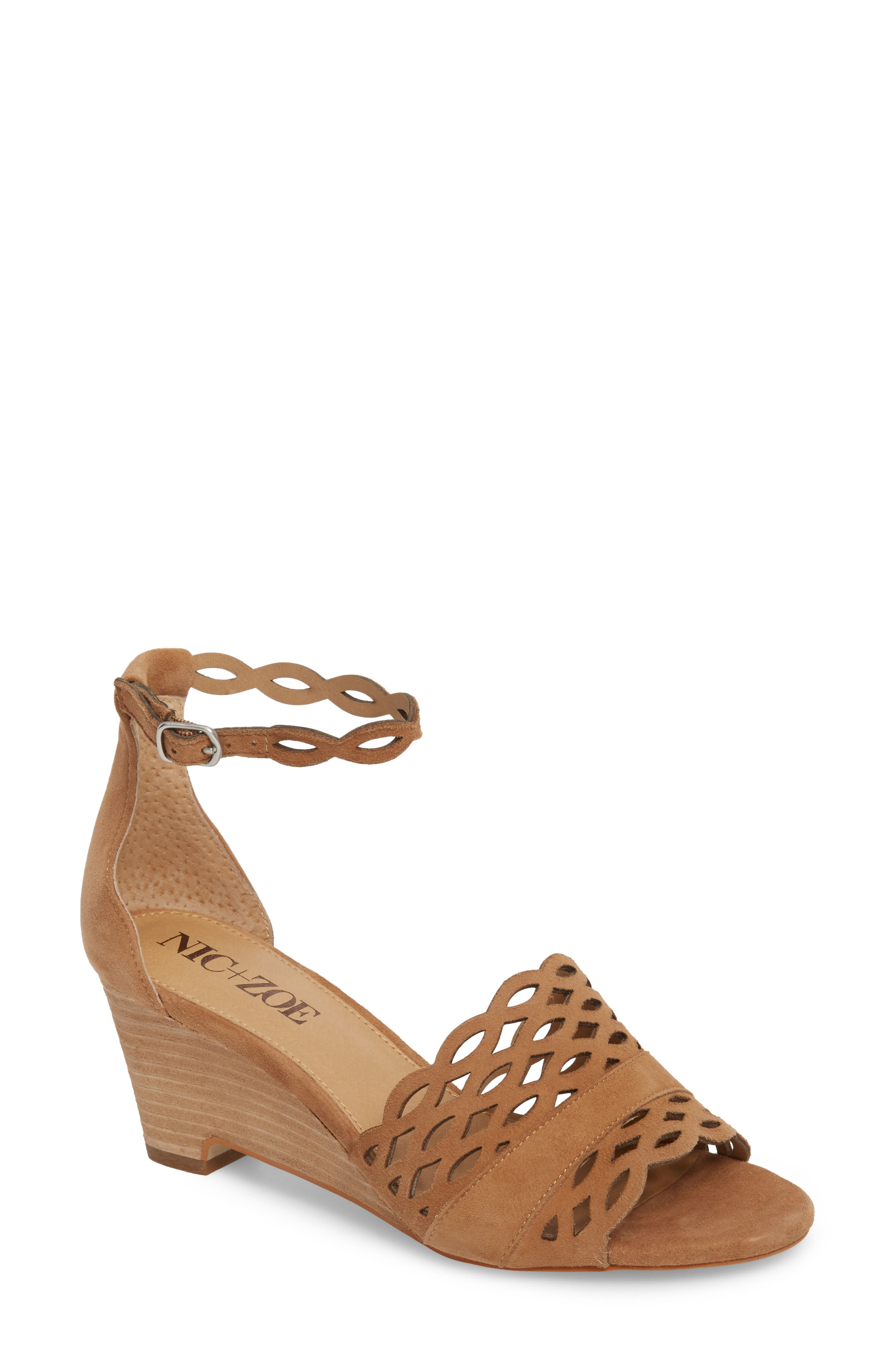 Flora Wedge Sandal,                         Main,                         color, Fawn Leather