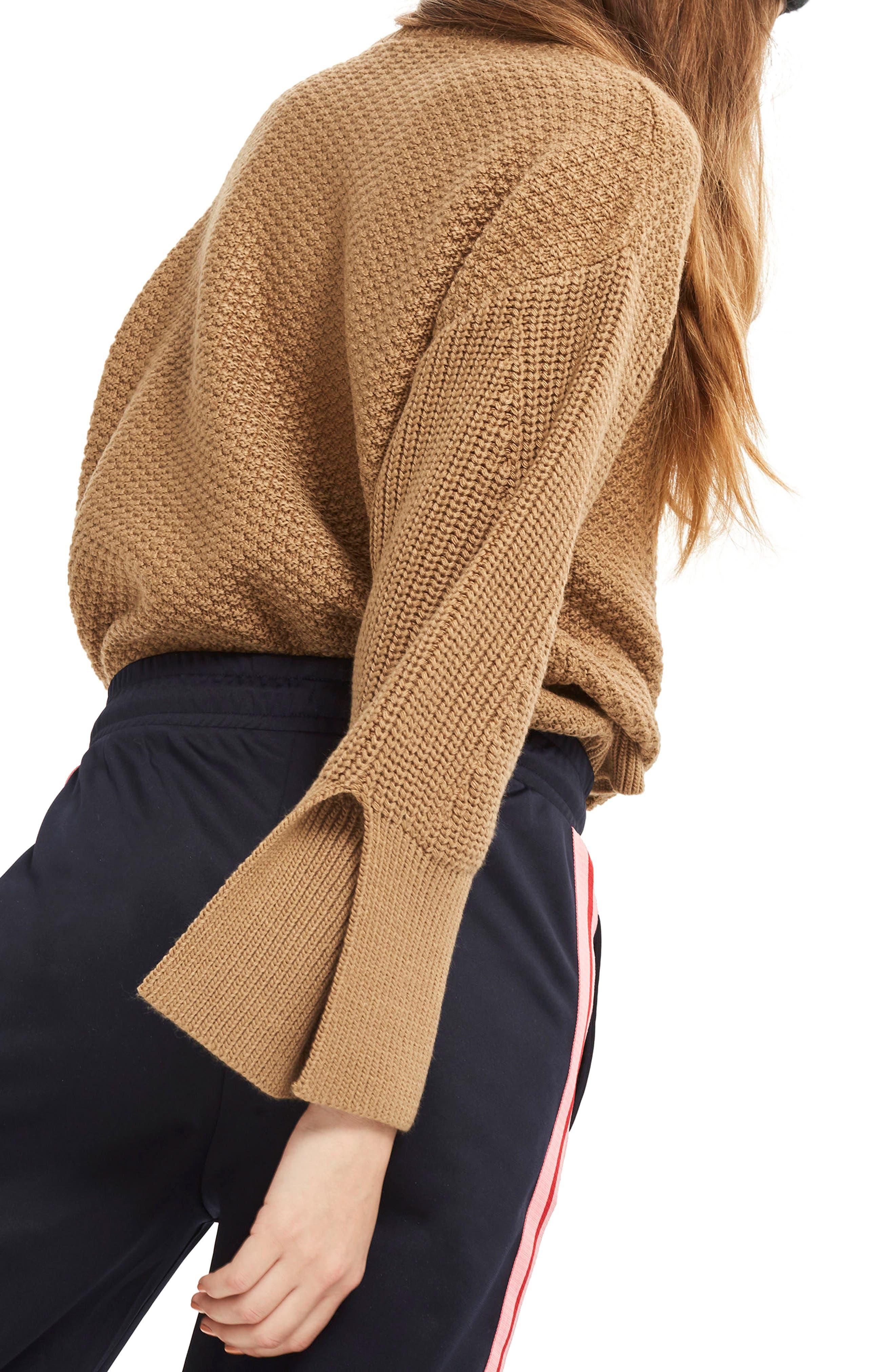 Petite Moss Stitch Sweater,                             Alternate thumbnail 3, color,                             Camel